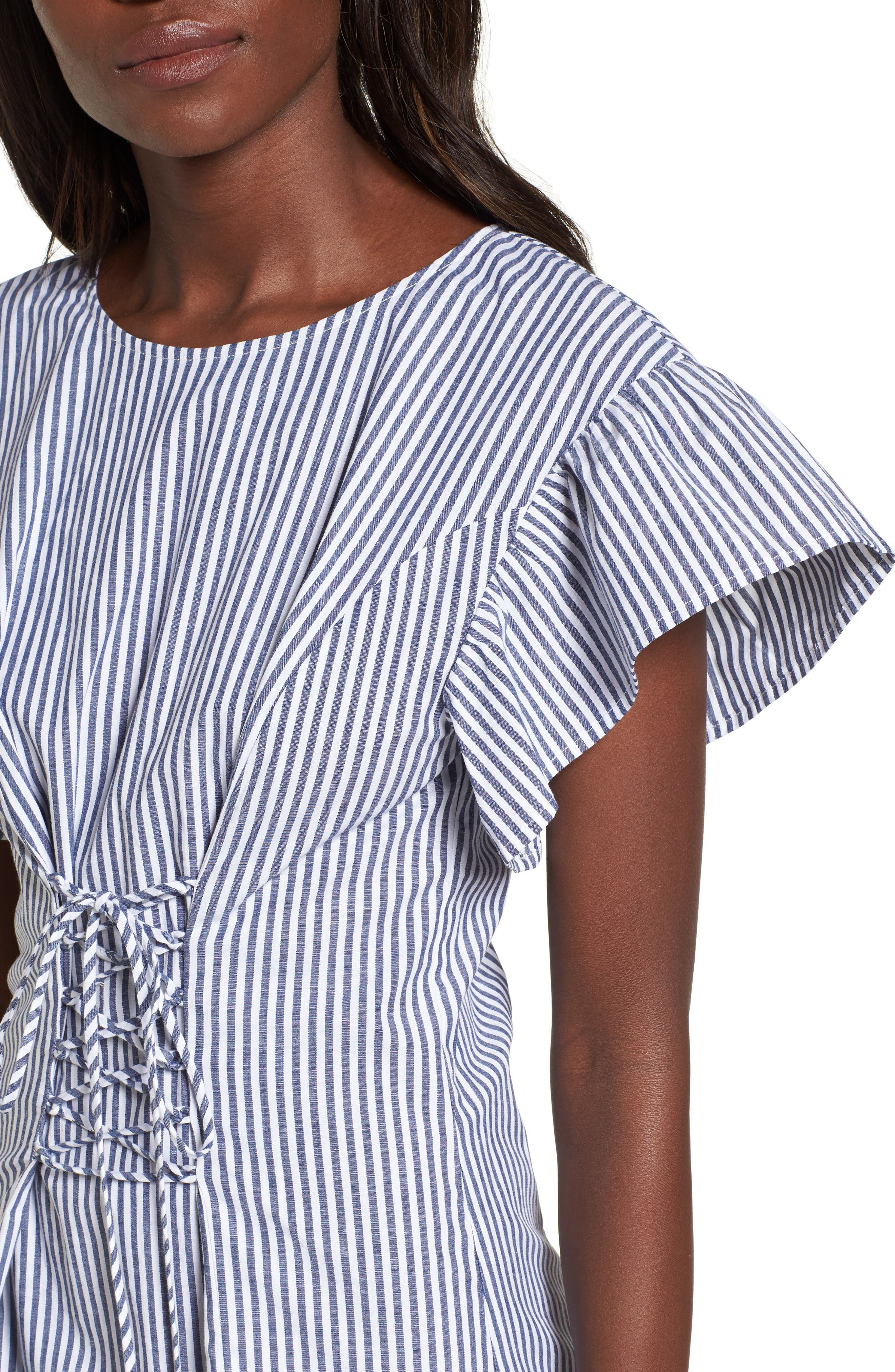 Lace-Up Minidress,                             Alternate thumbnail 4, color,                             Blue-White Stripe