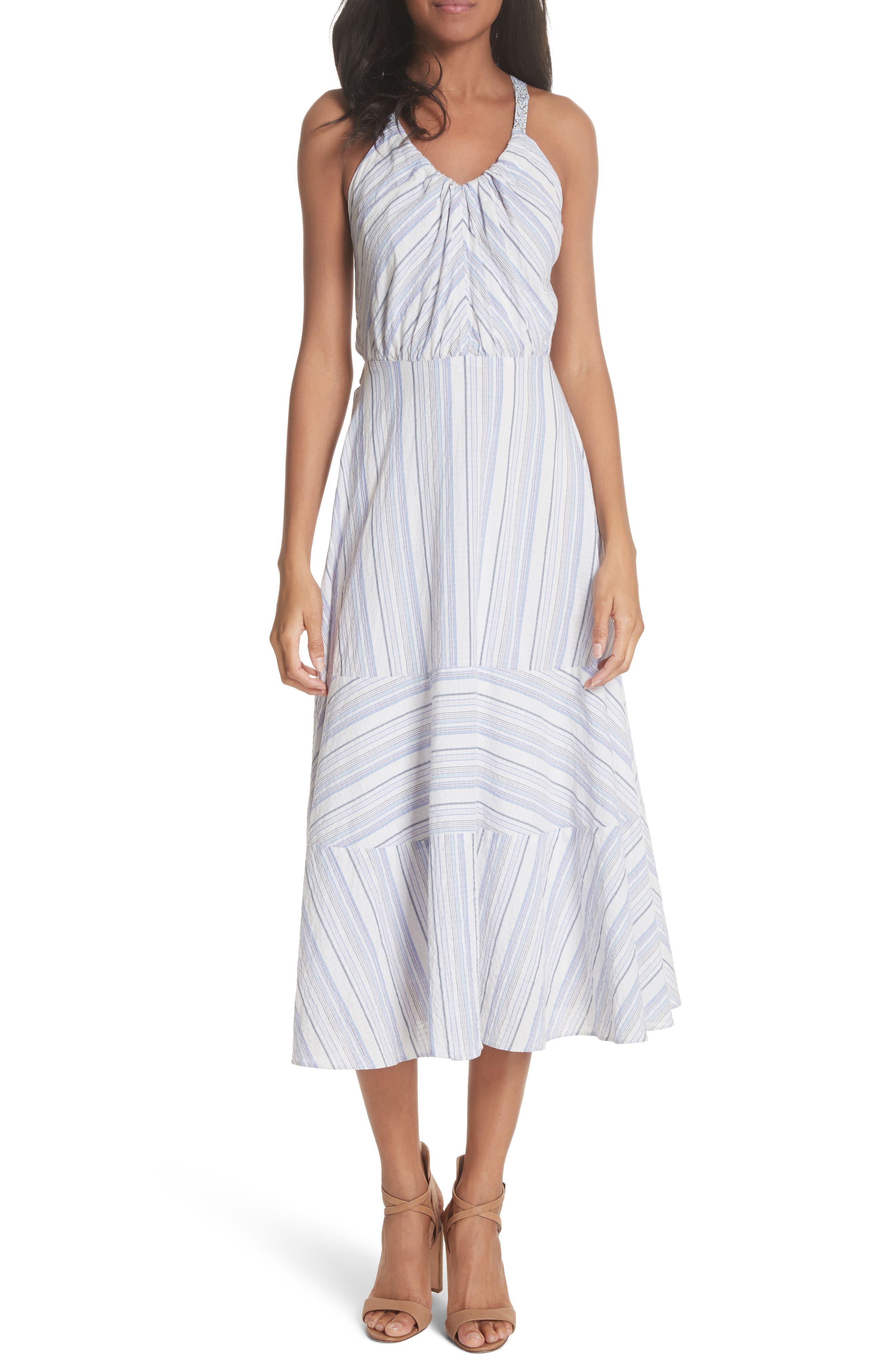 Leila Stripe Midi Dress,                             Main thumbnail 1, color,                             Iris Combo