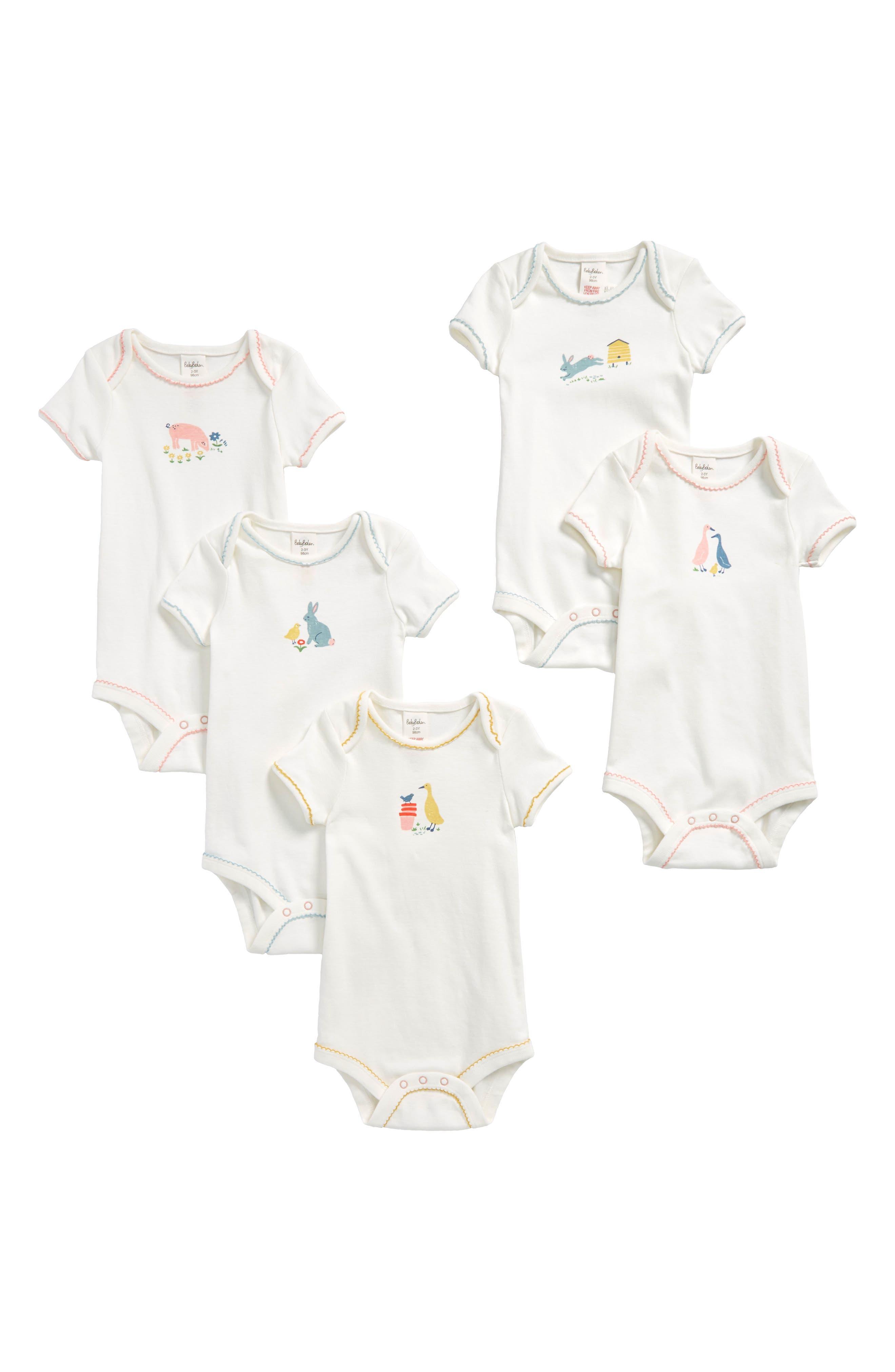 Main Image - Mini Boden 5-Pack Farmyard Bodysuits (Baby Girls & Toddler Girls)
