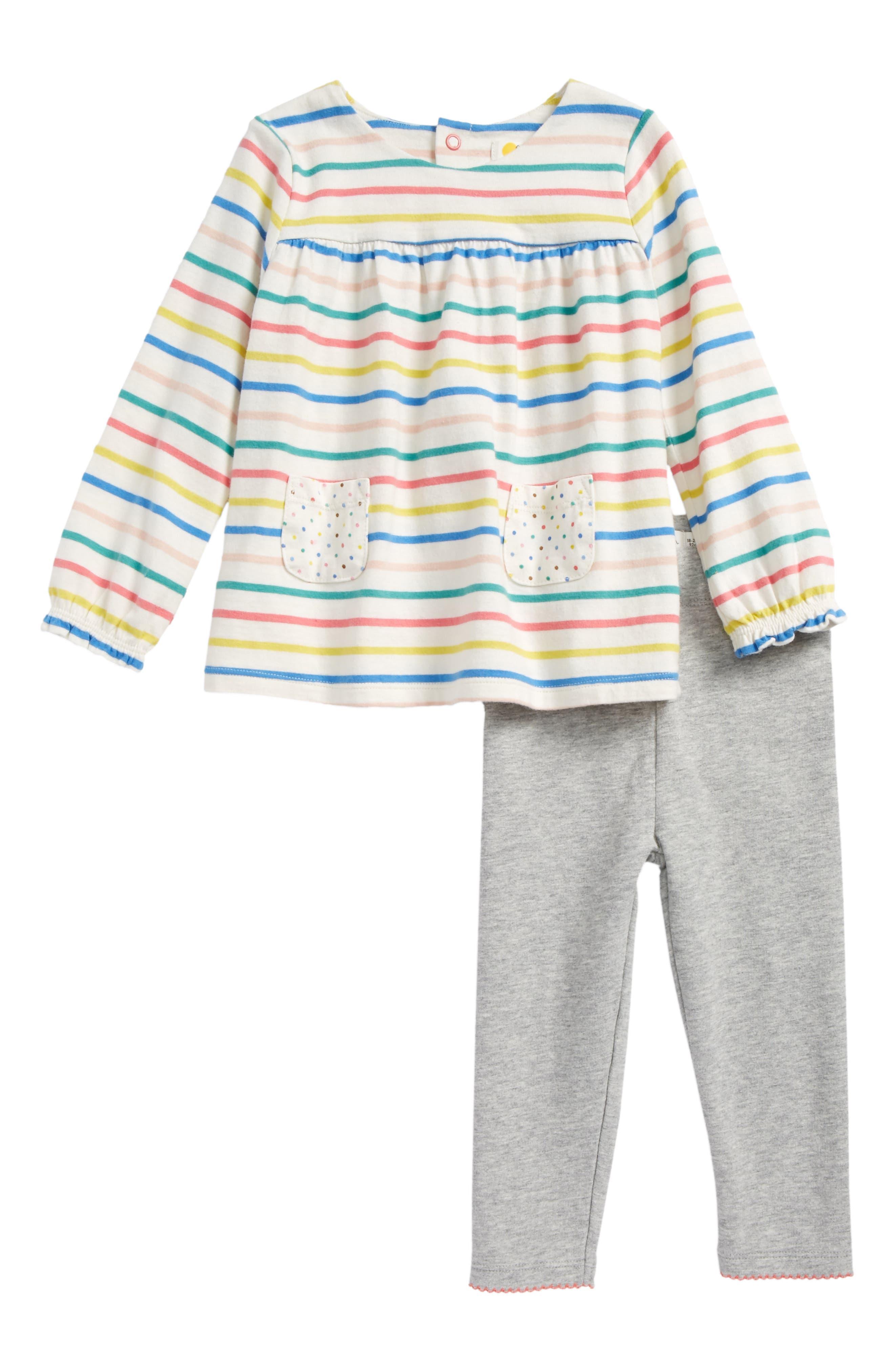 Print Jersey Tunic & Leggings Set,                             Main thumbnail 1, color,                             Fun Stripe