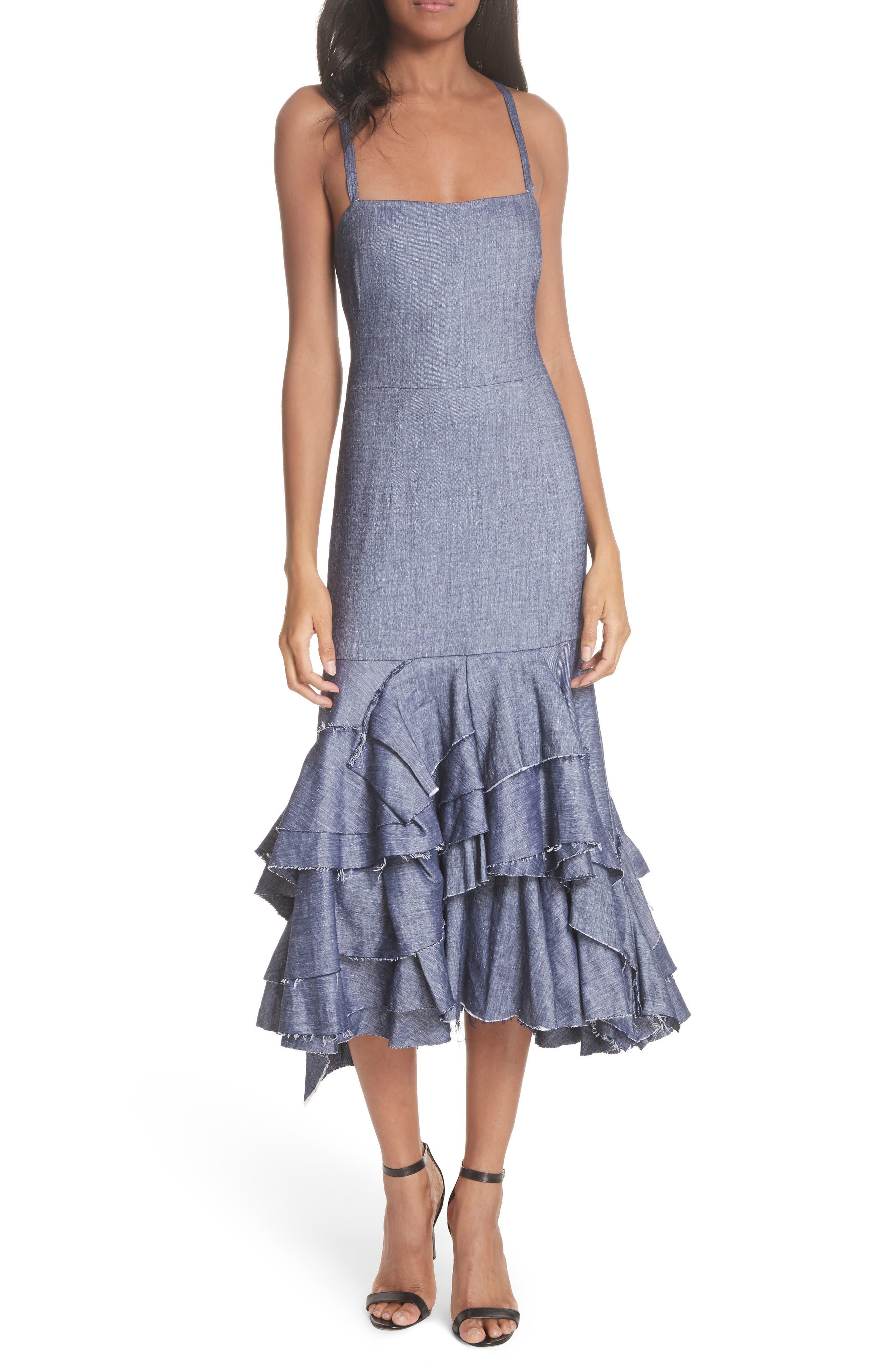 Apron Ruffle Midi Dress,                             Main thumbnail 1, color,                             Blue