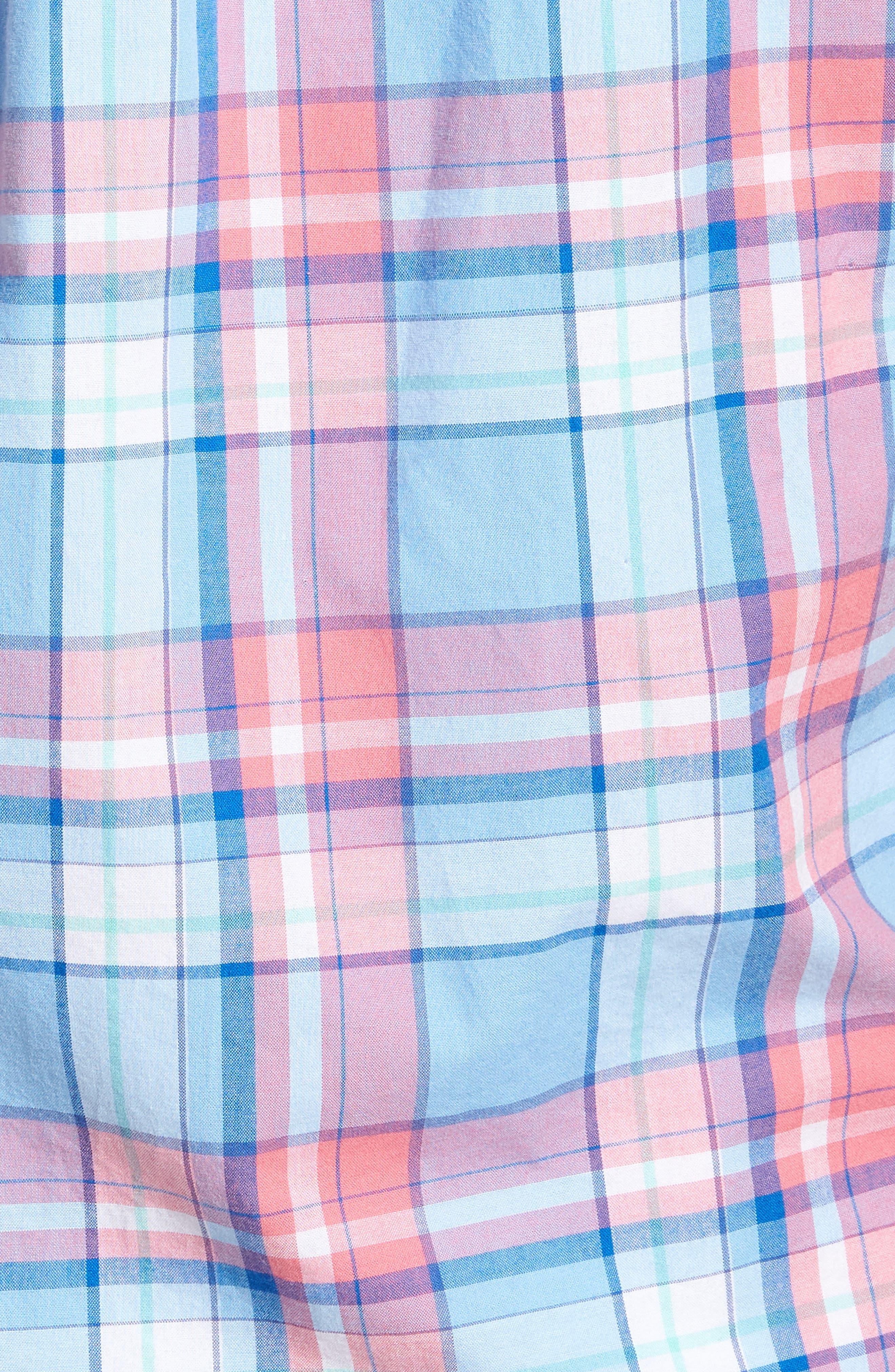 Bluff House Plaid Sport Shirt,                             Alternate thumbnail 5, color,                             Ocean Breeze