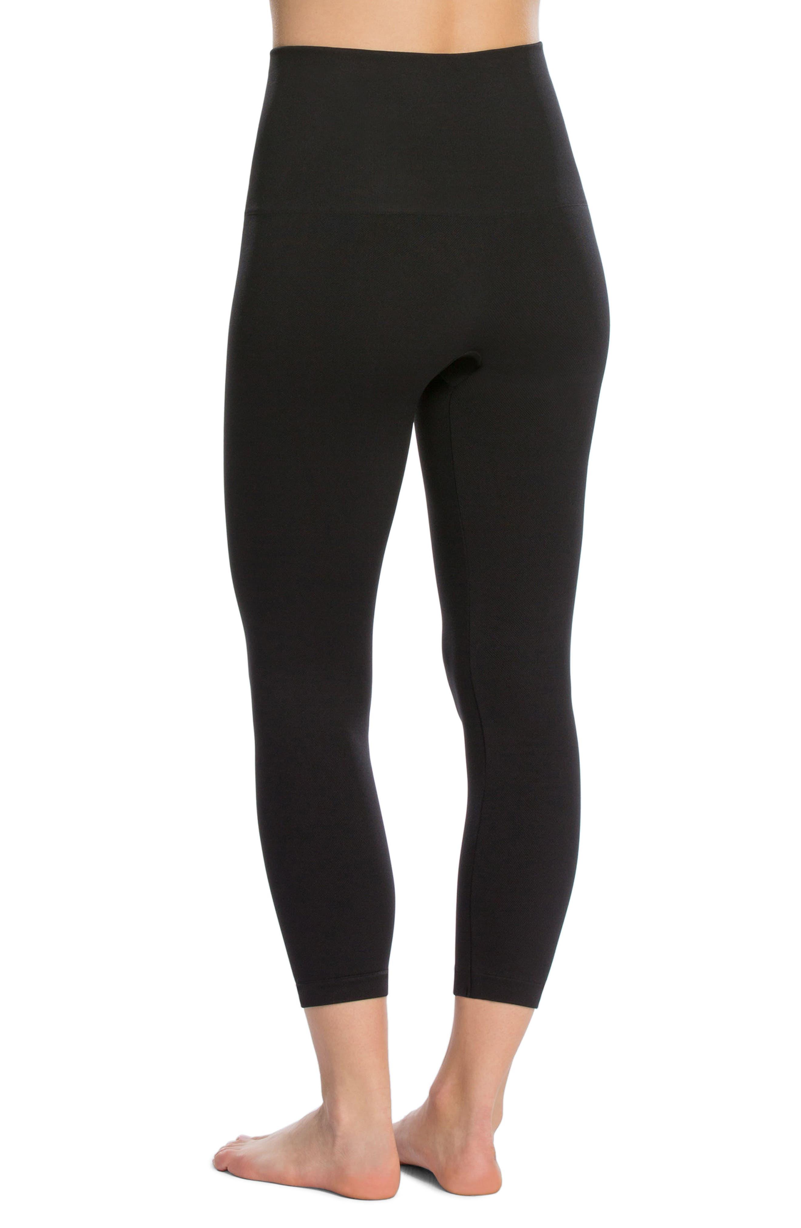 SPANX Crop Shaper Leggings,                             Alternate thumbnail 2, color,                             Black
