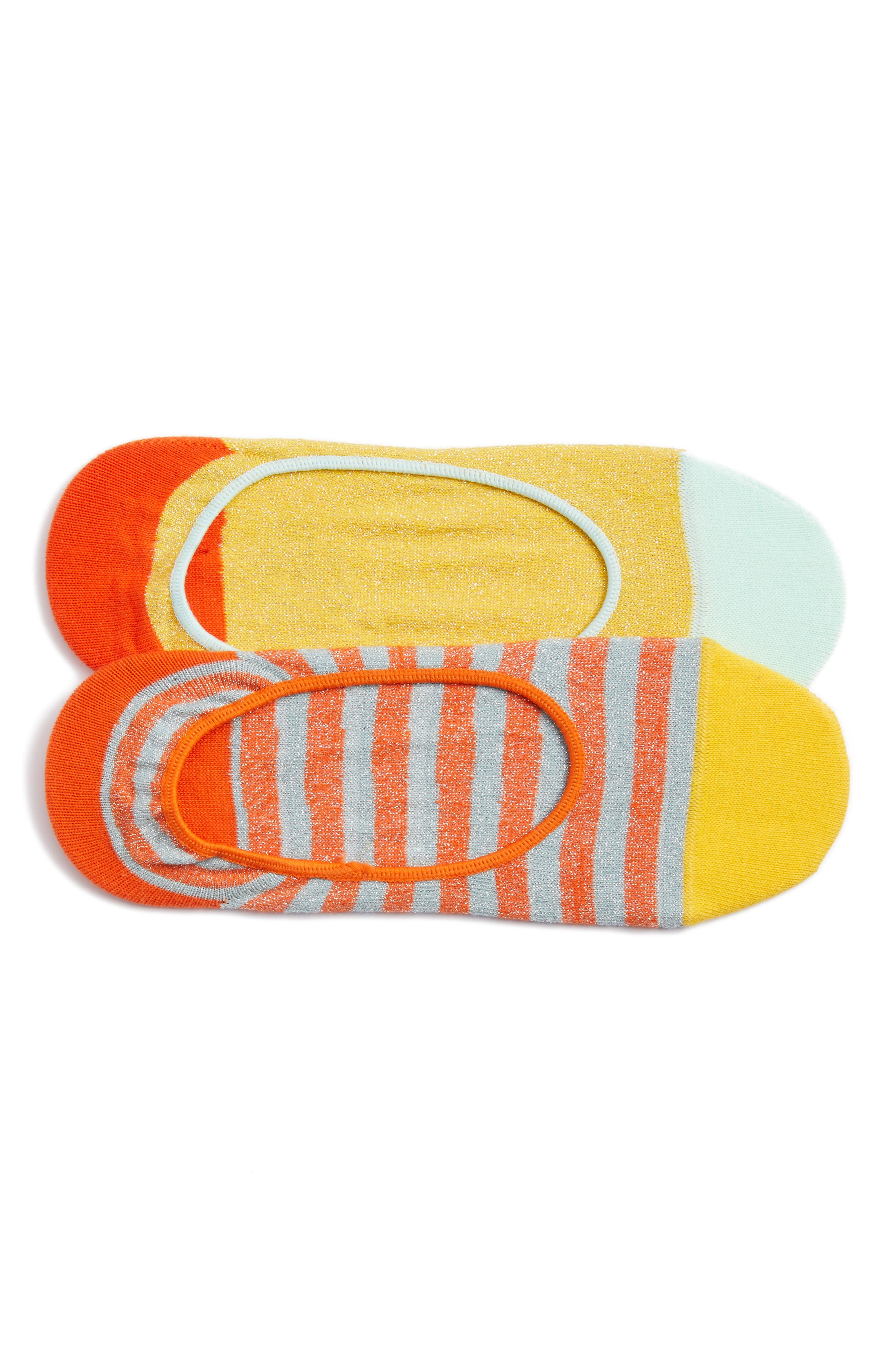 2-Pack Claudia No-Show Socks,                             Main thumbnail 1, color,                             Orange