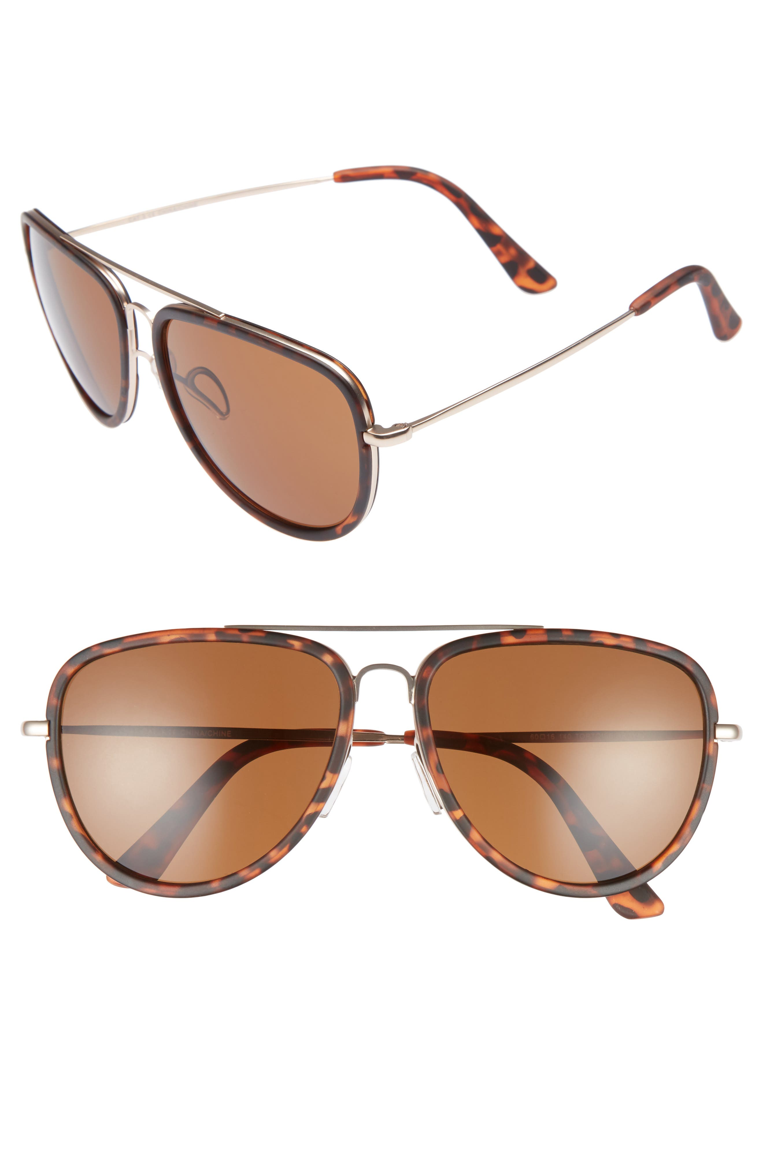 Pace 60mm Aviator Sunglasses,                         Main,                         color, Tortoise/ Brown
