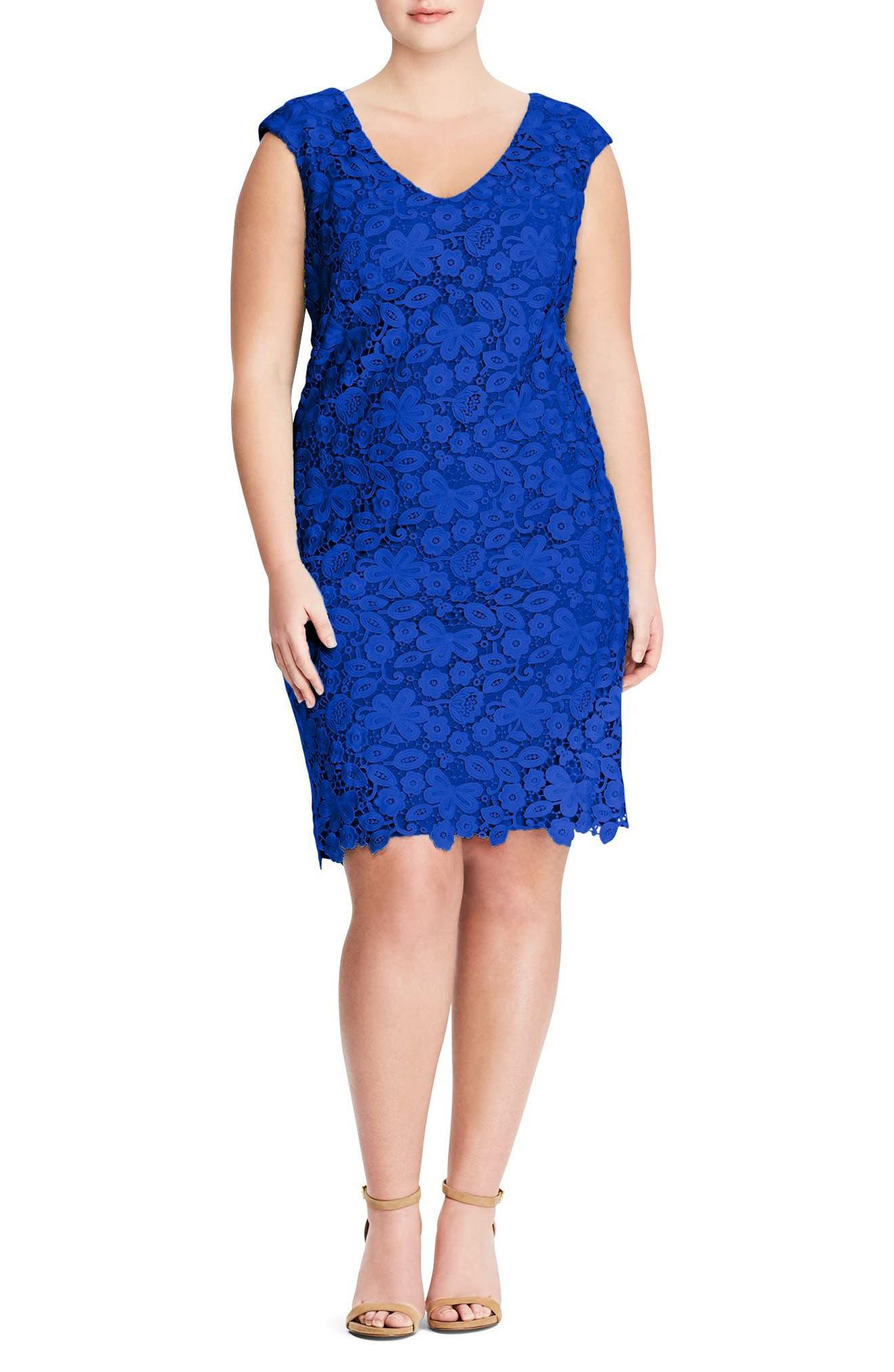 Montie Lace Sheath Dress,                         Main,                         color, Deep Lapis