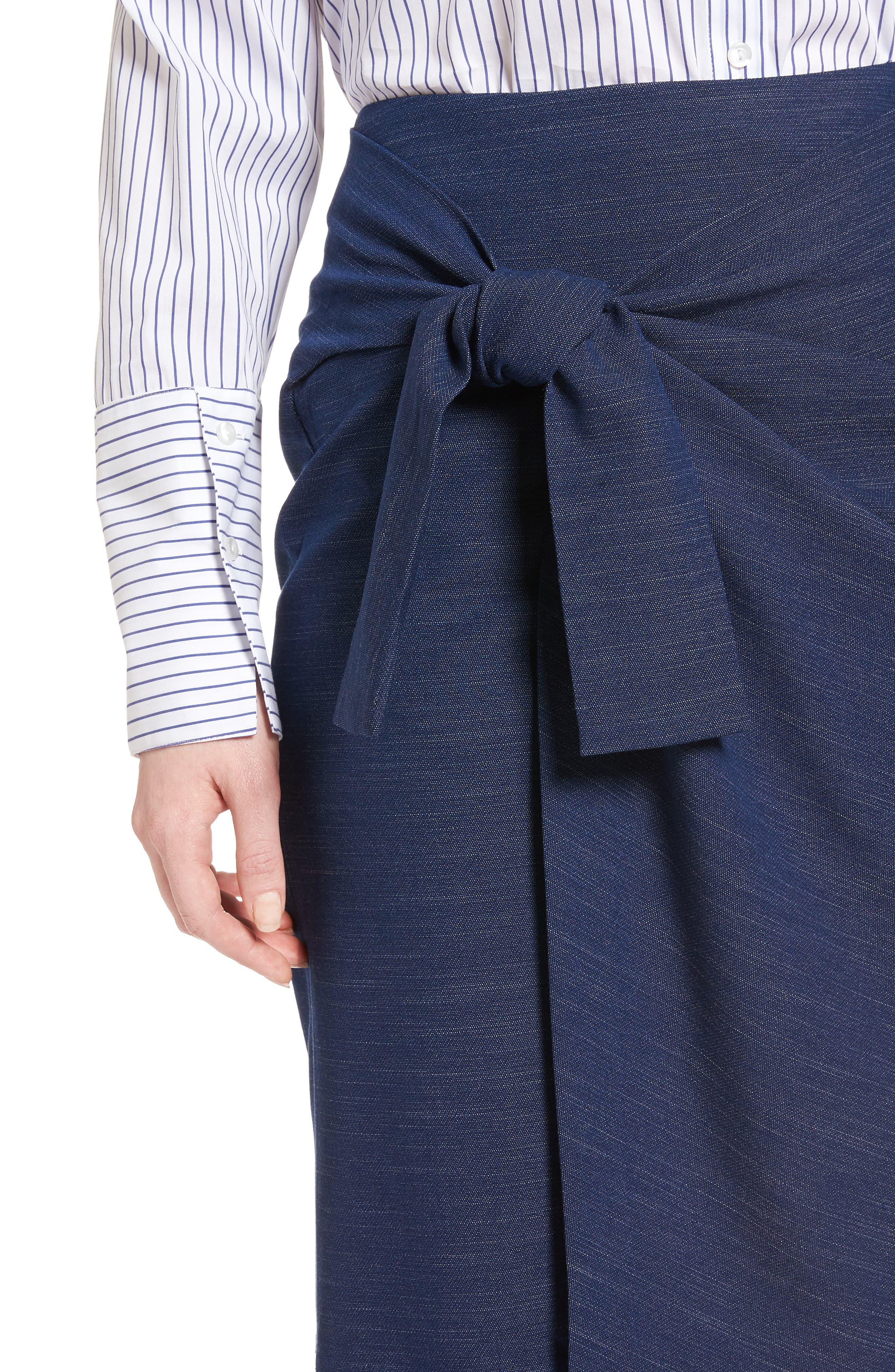 Side Tie Pencil Skirt,                             Alternate thumbnail 4, color,                             Dark Chambray