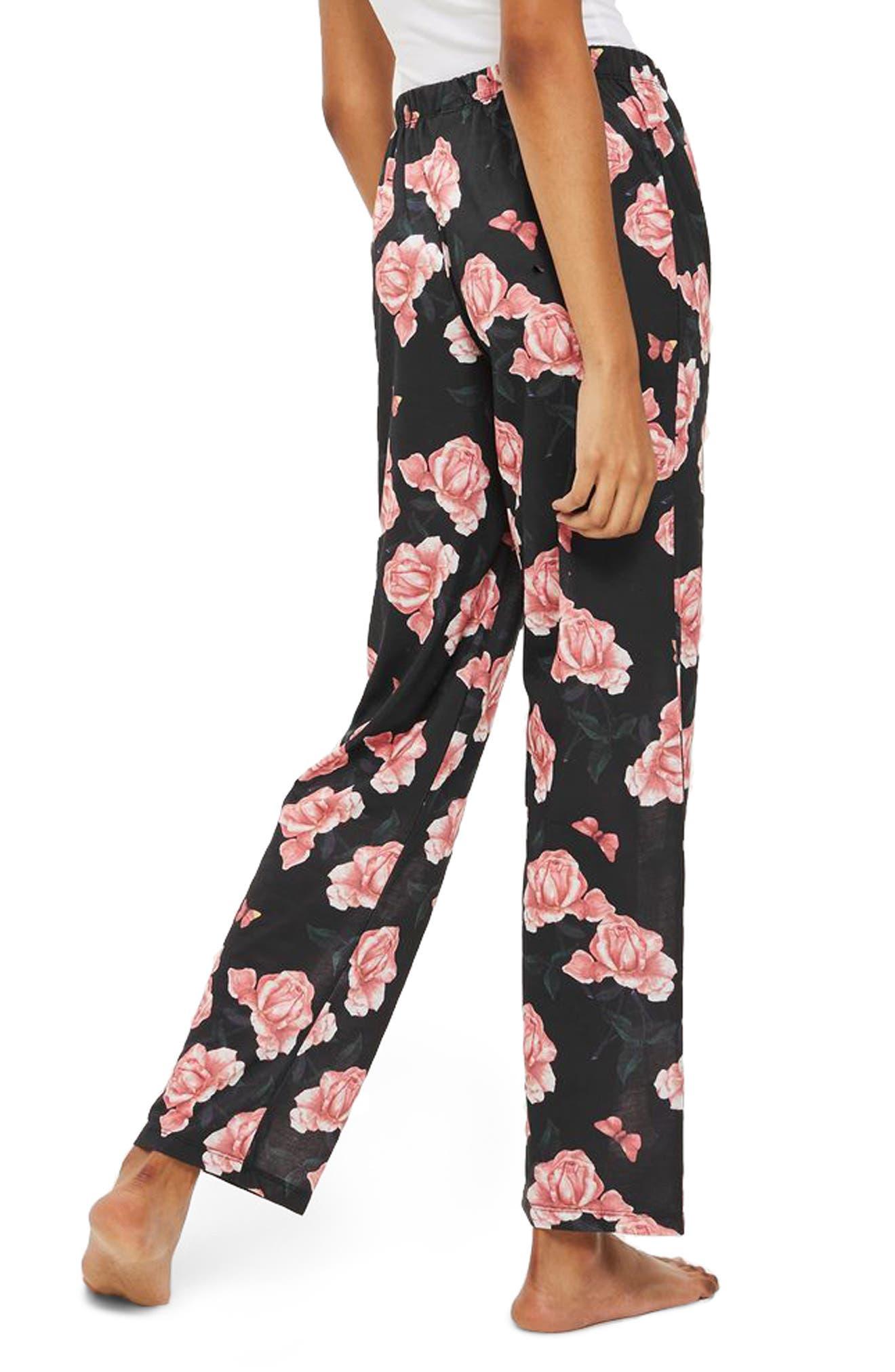 Rose Pajama Pants,                             Alternate thumbnail 2, color,                             Black Multi