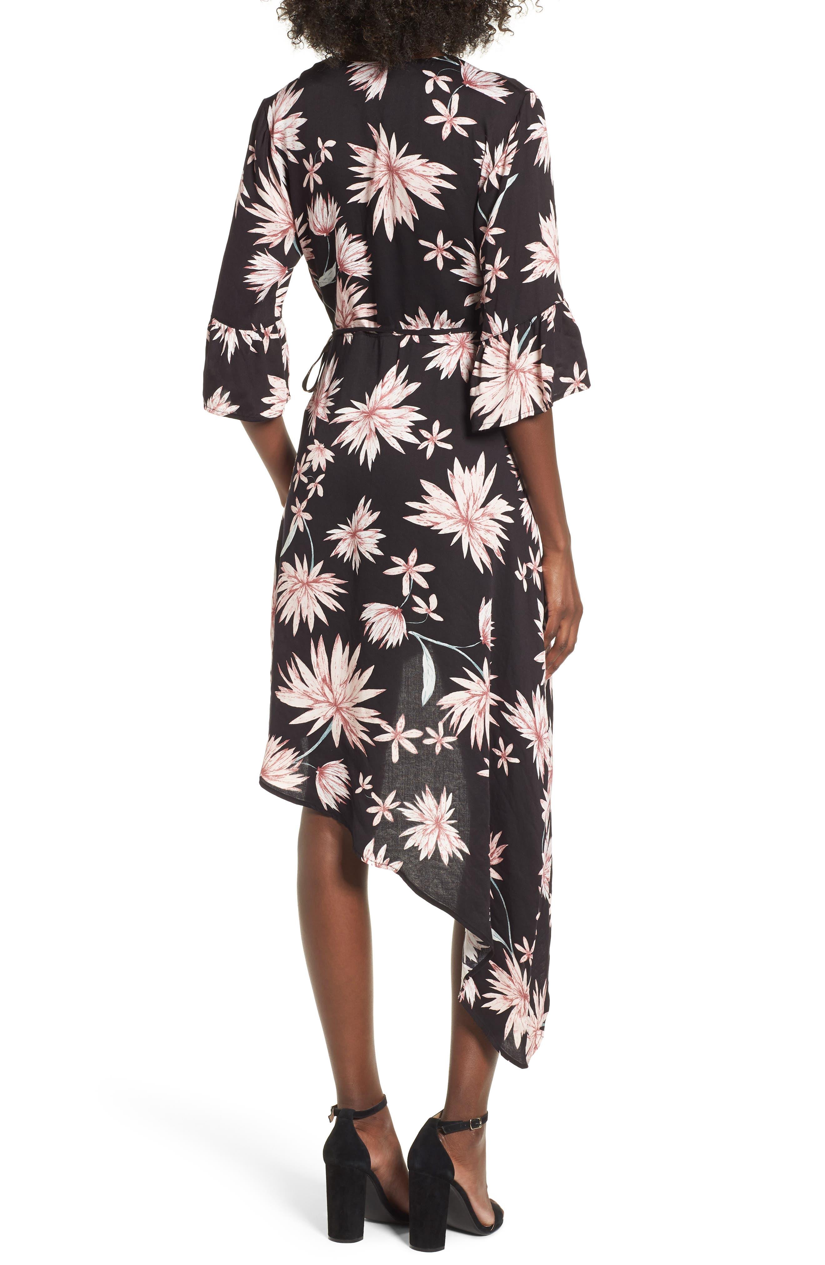 Shades of Dawn Wrap Dress,                             Alternate thumbnail 3, color,                             Multi Navy