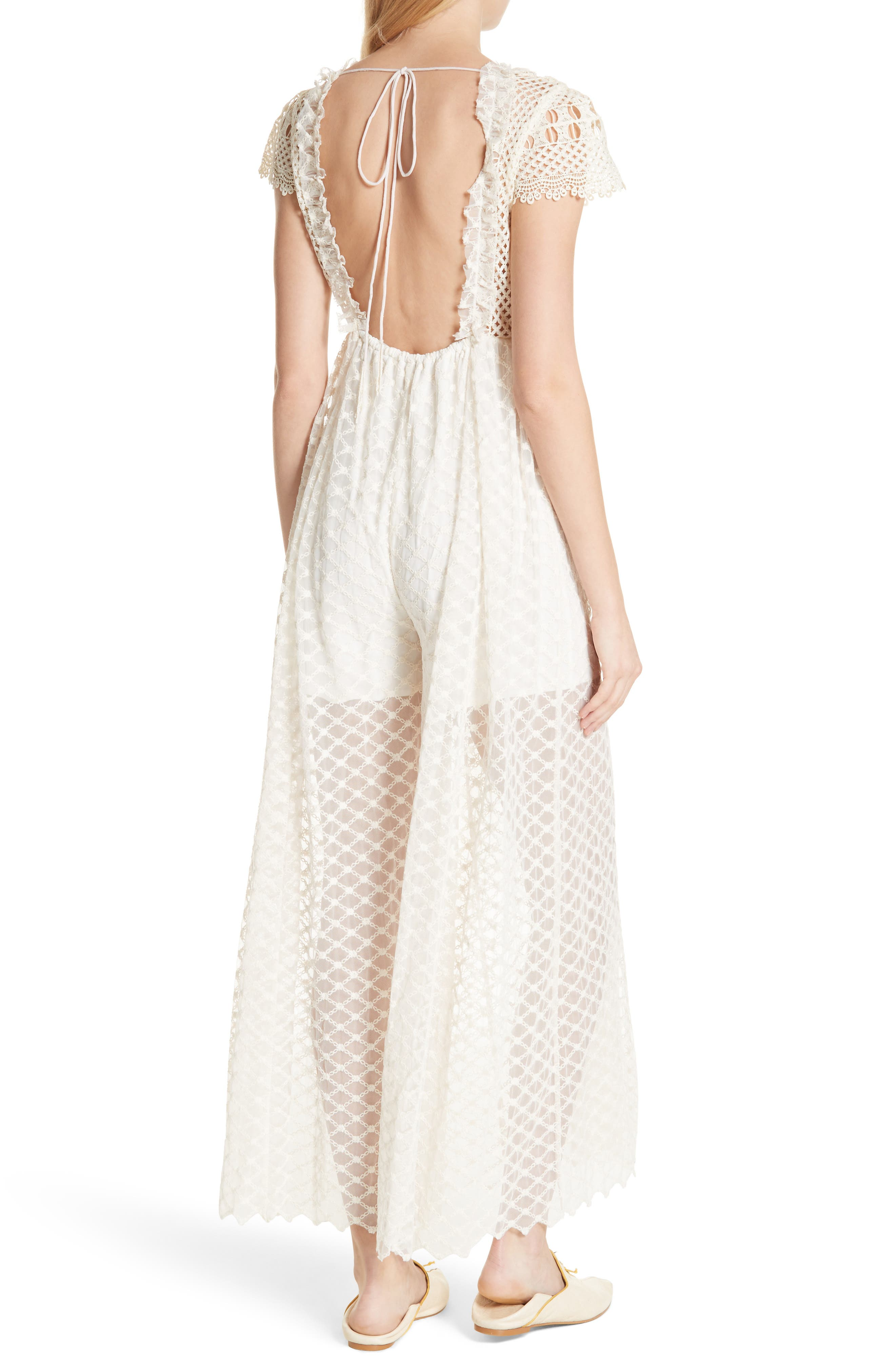 Chleo Embroidered Jumpsuit,                             Alternate thumbnail 2, color,                             Cream