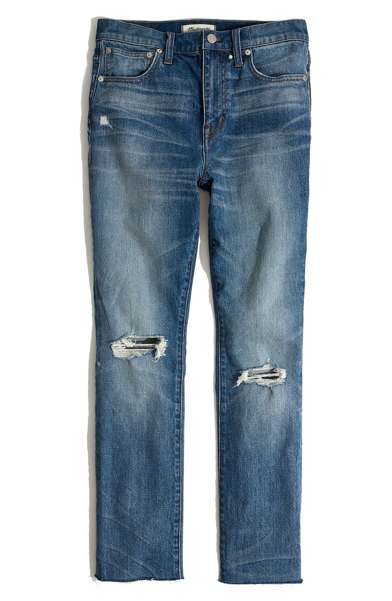 Ripped High Waist Slim Boyfriend Jeans,                             Alternate thumbnail 4, color,                             Burt