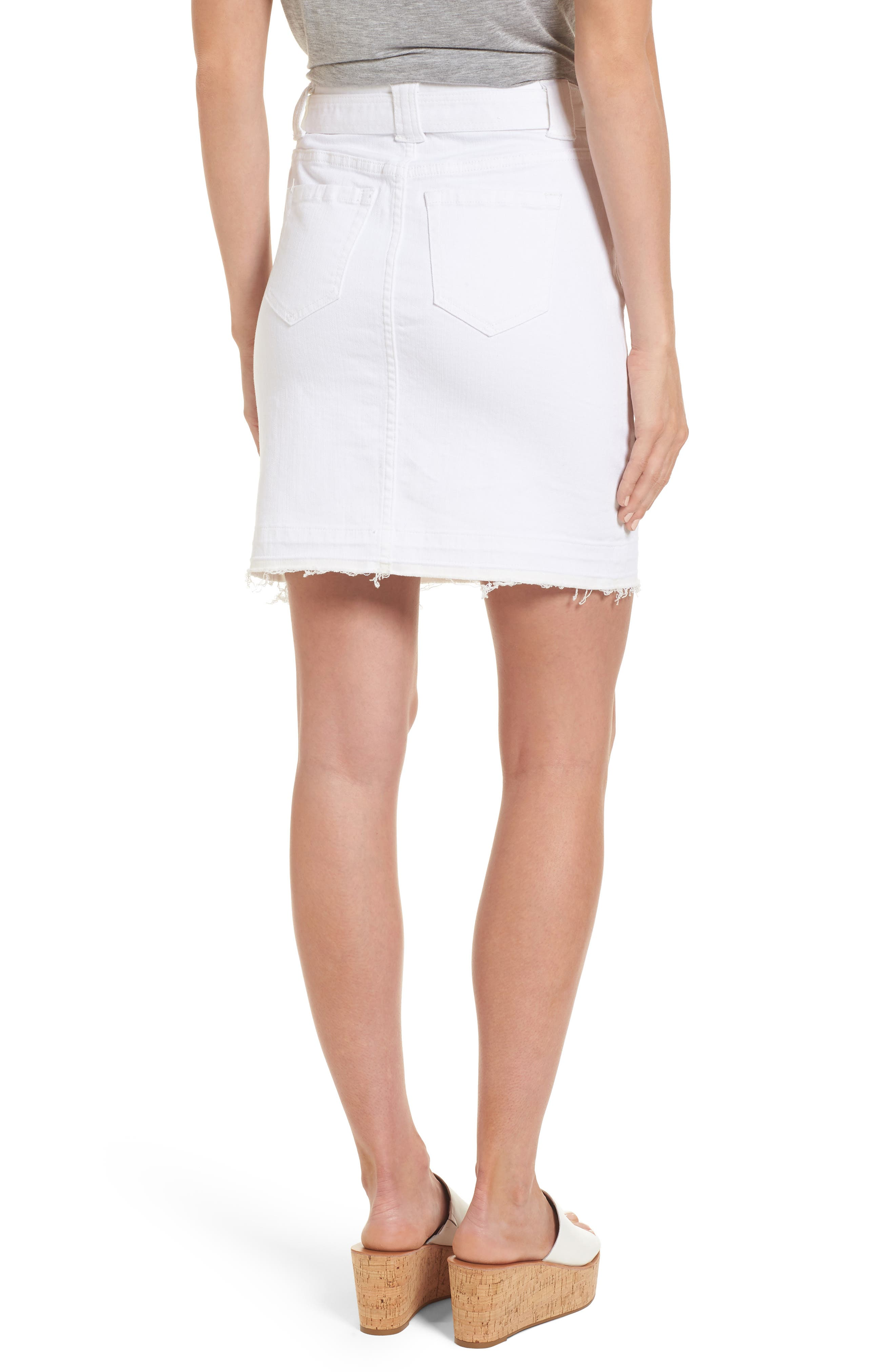 Belted Release Hem Stretch Cotton Twill Skirt,                             Alternate thumbnail 2, color,                             White