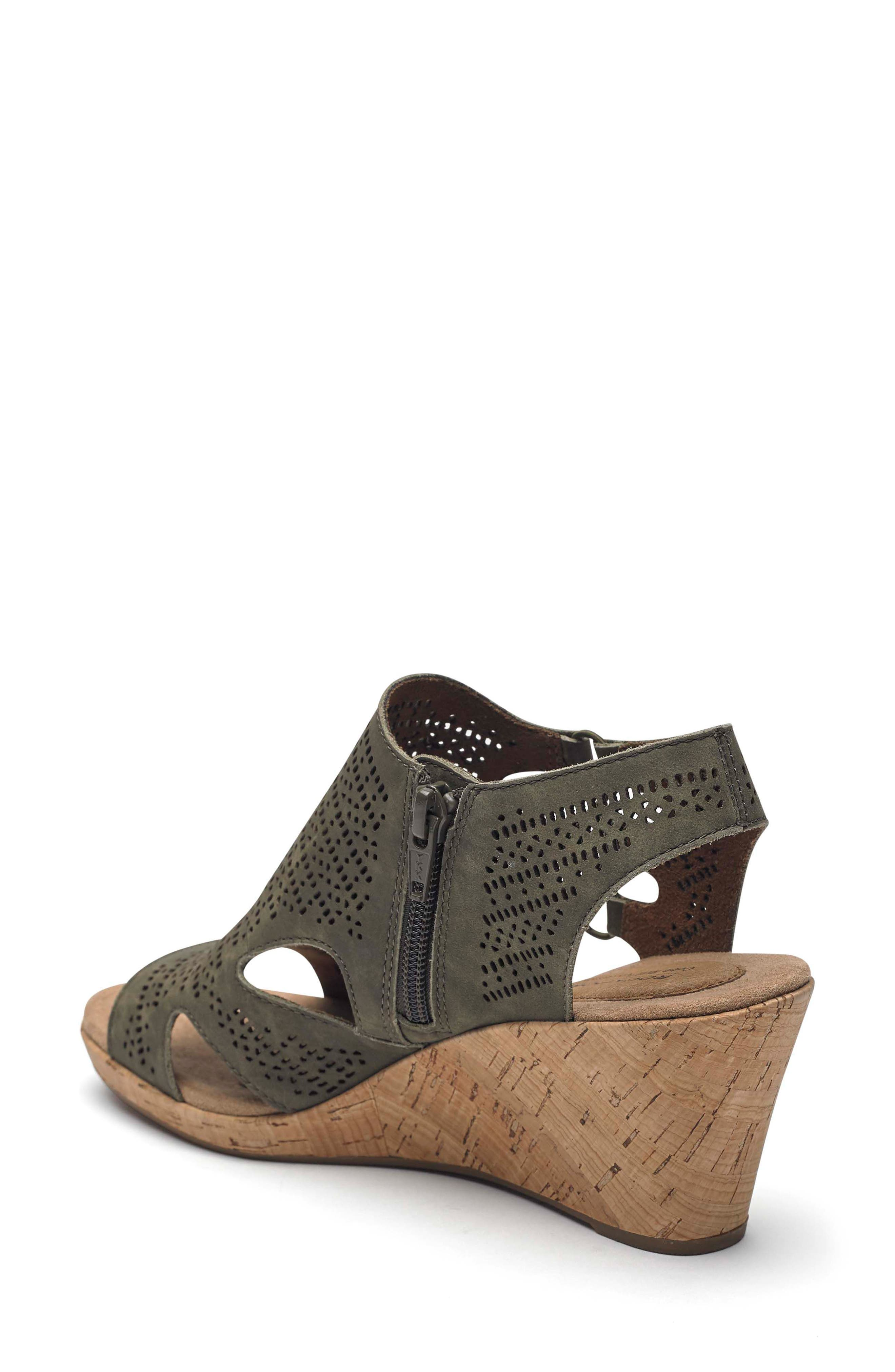 Janna Perforated Wedge Sandal,                             Alternate thumbnail 2, color,                             Green Nubuck Leather