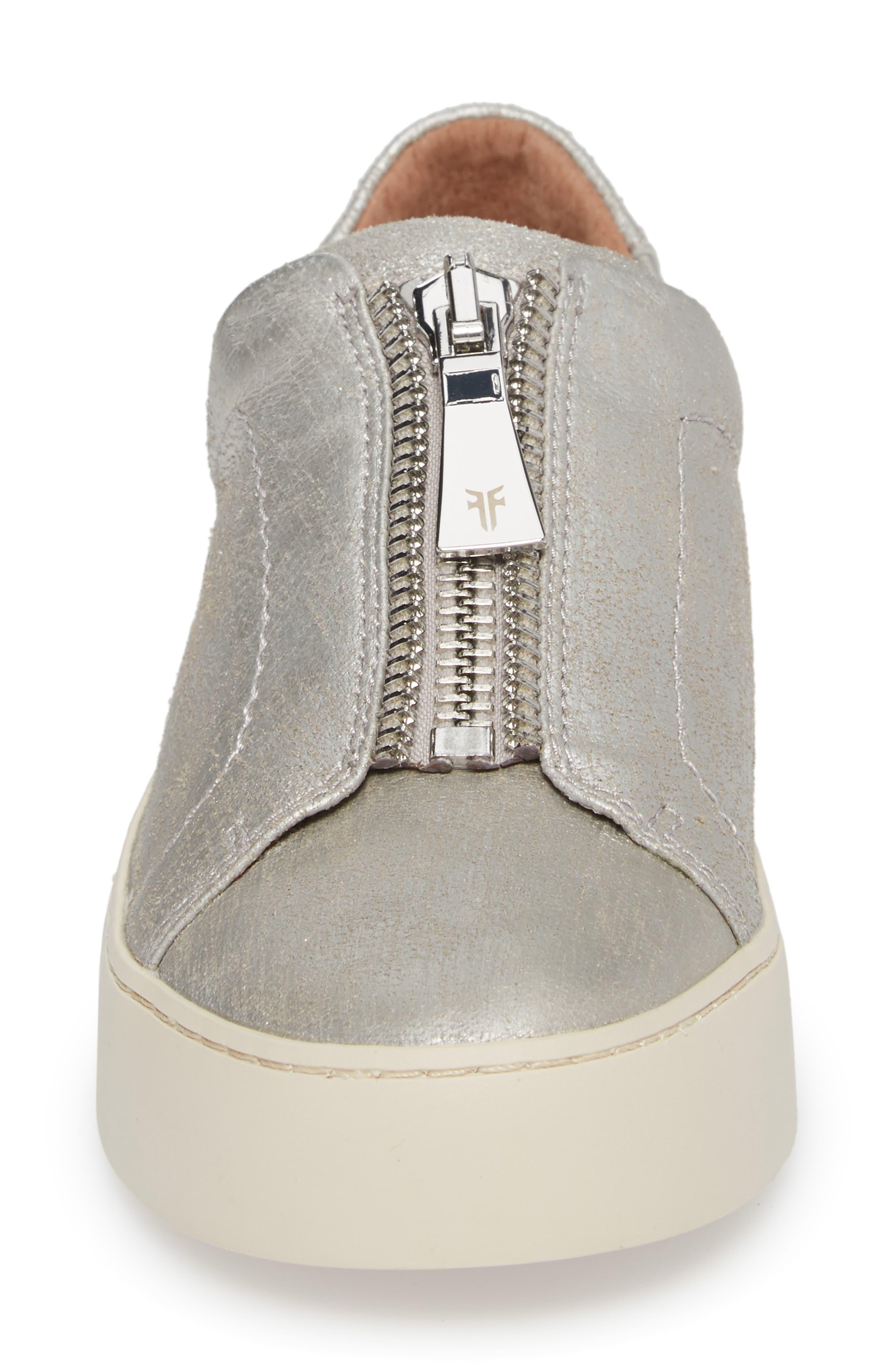 Lena Zip Sneaker,                             Alternate thumbnail 4, color,                             Silver Leather