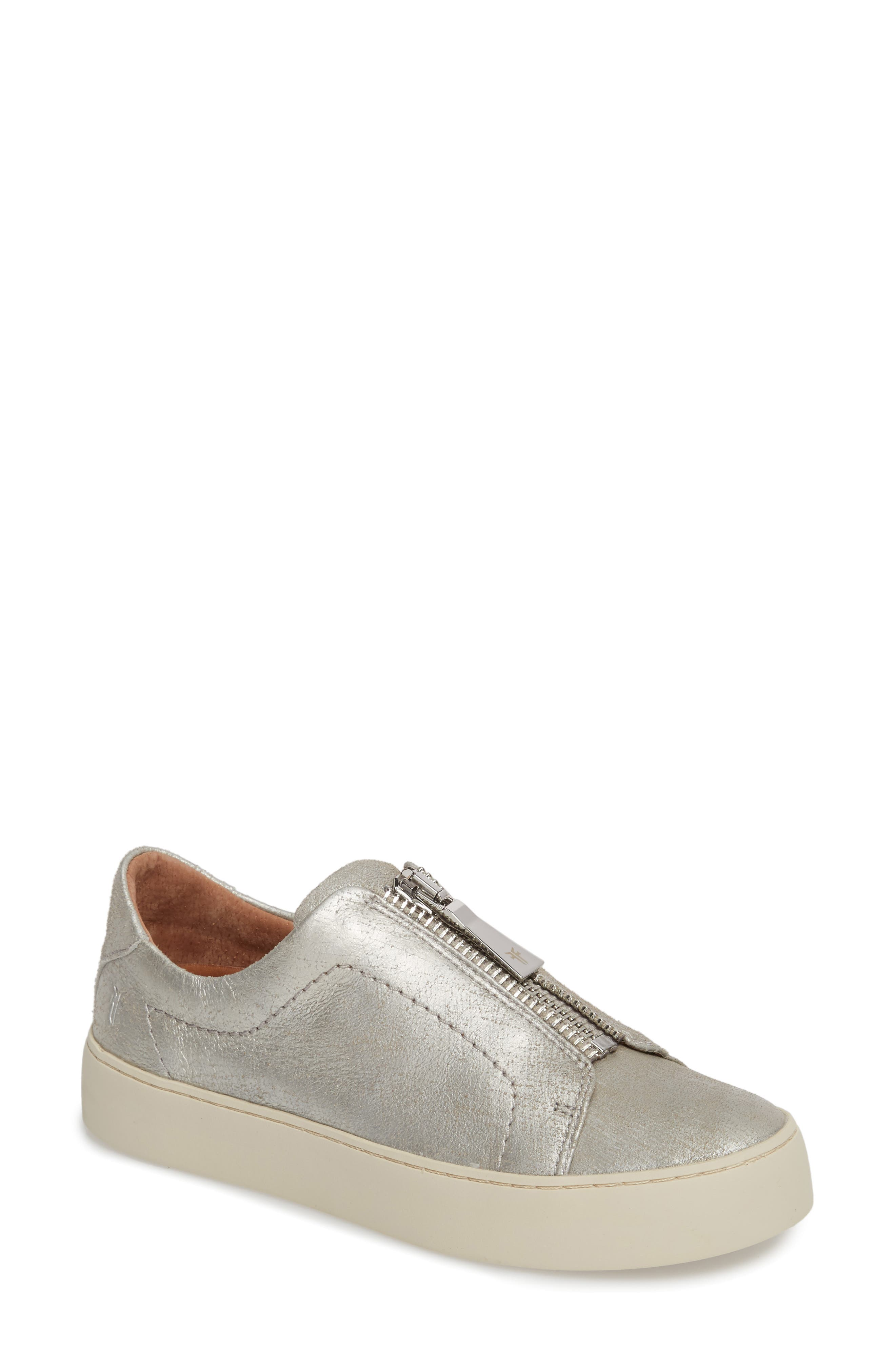 Lena Zip Sneaker,                         Main,                         color, Silver Leather