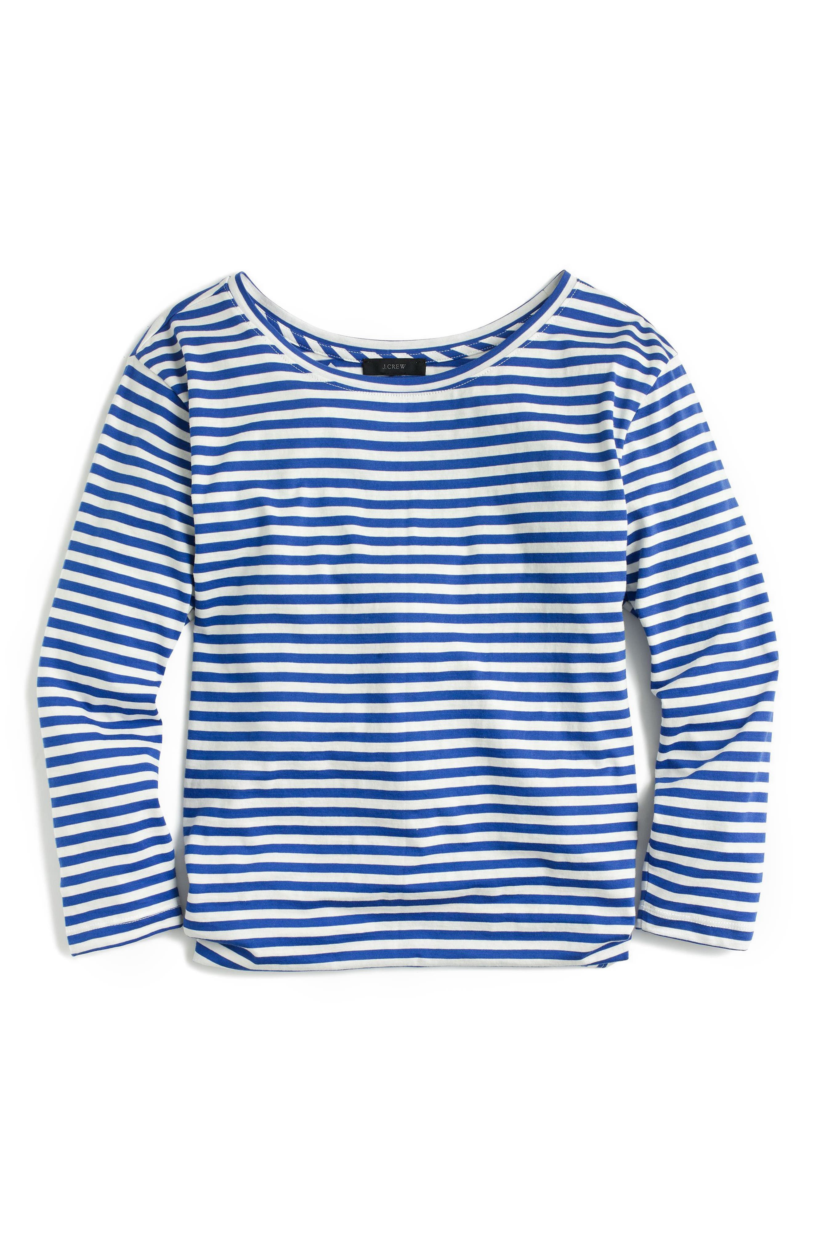 Stripe Twist Back Tee,                             Alternate thumbnail 3, color,                             Bright Ocean Ivory