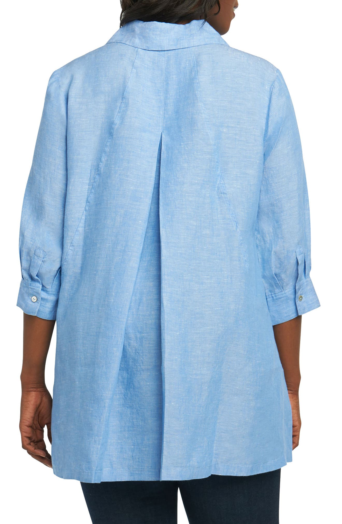 Chambray Linen Tunic Shirt,                             Alternate thumbnail 2, color,                             Harbor Blue