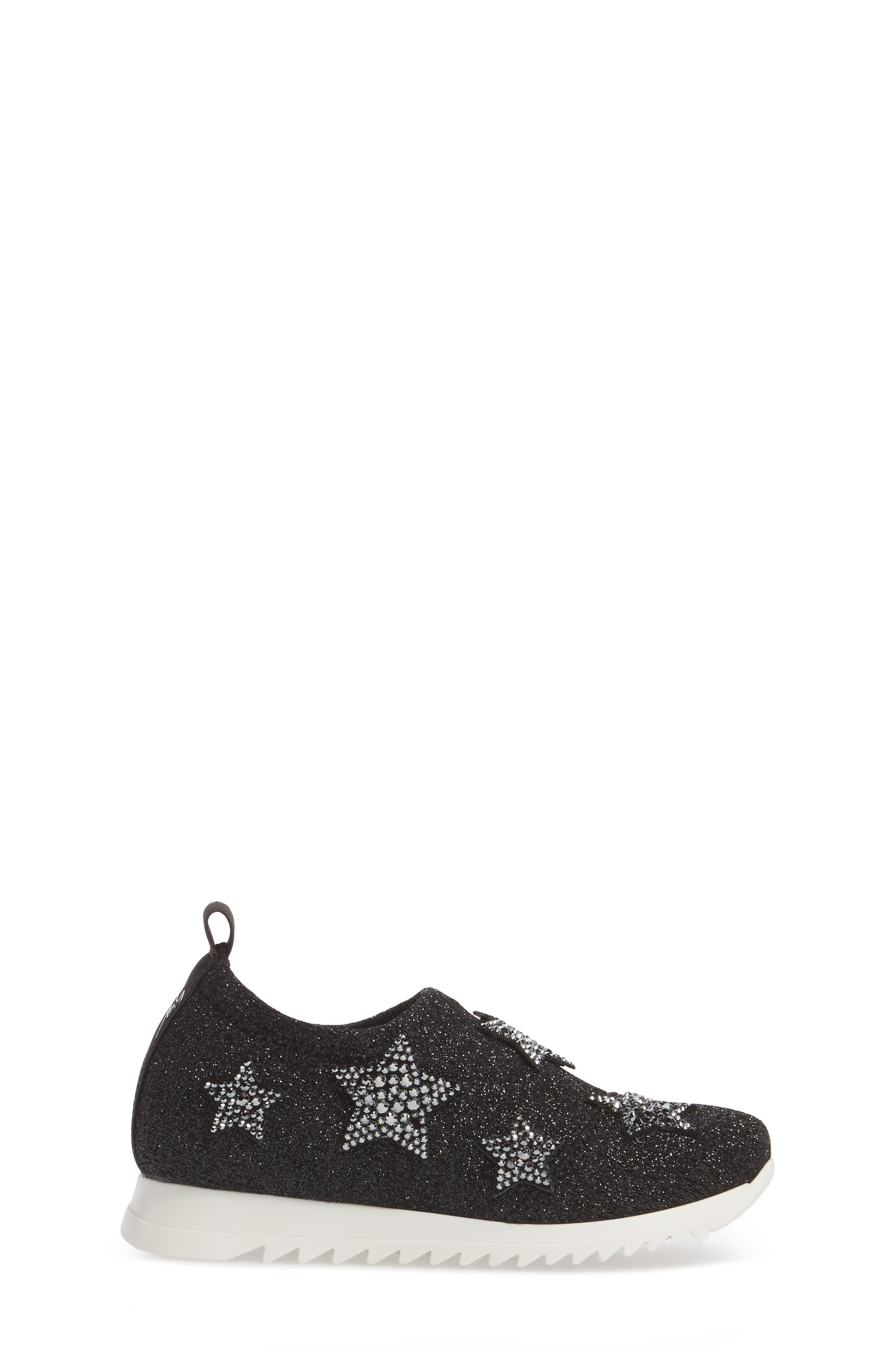 Natalie Star Glitter Slip-On Sneaker,                             Alternate thumbnail 3, color,                             Black