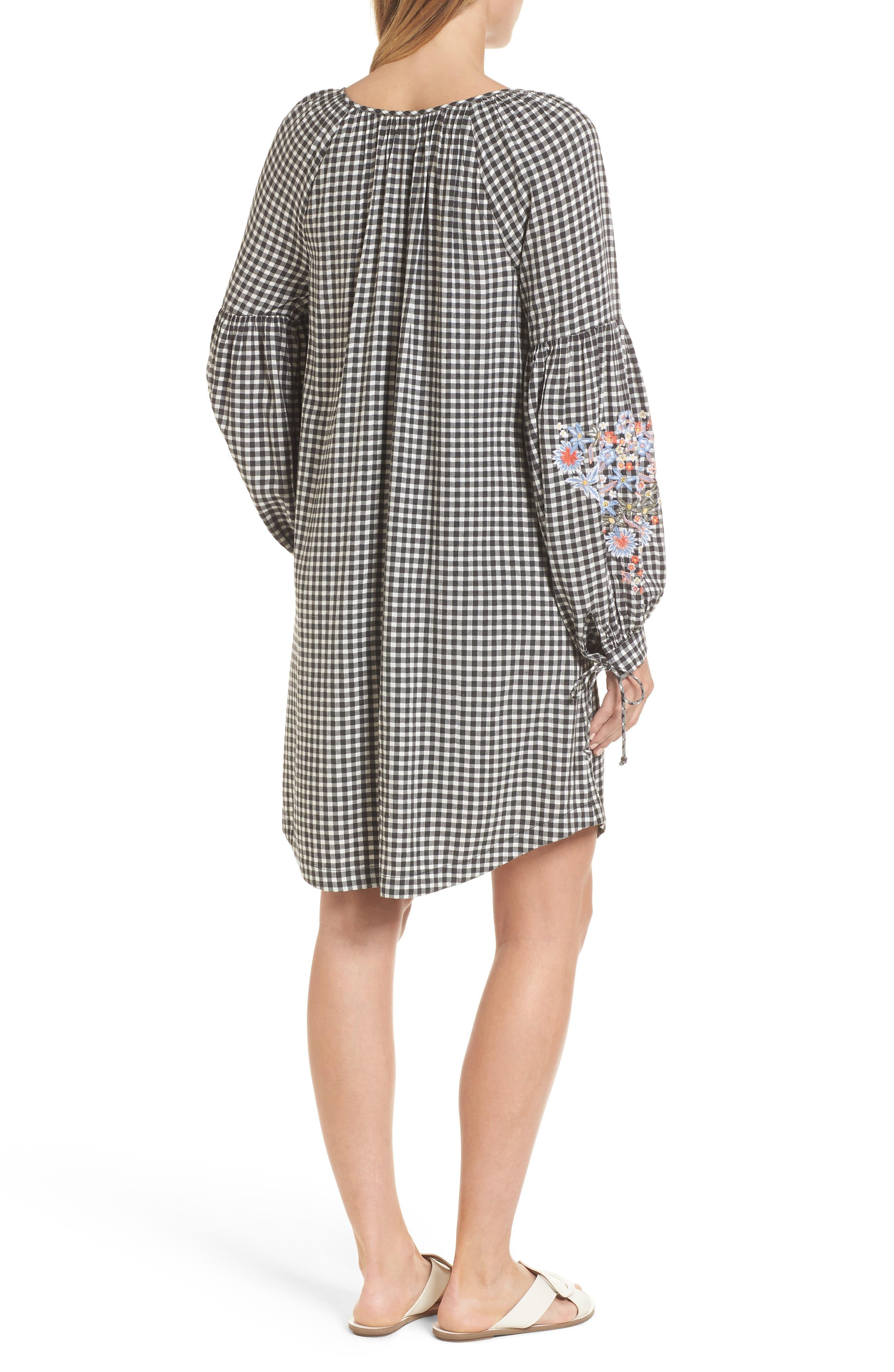 Embroidered Sleeve Shift Dress,                             Alternate thumbnail 2, color,                             Black-White Gingham