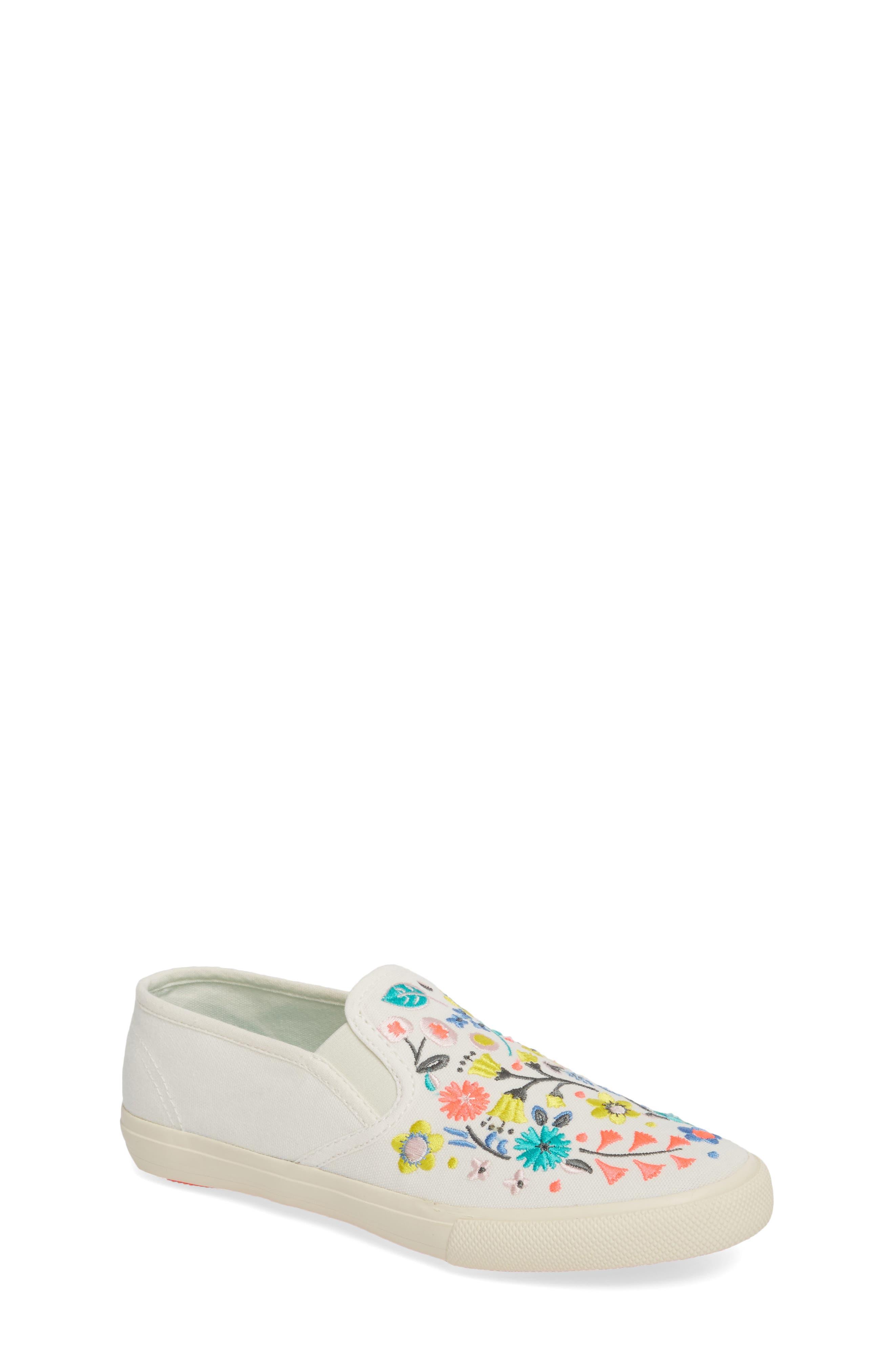 Boden Embroidered Slip-On Sneaker,                             Main thumbnail 1, color,                             Ecru