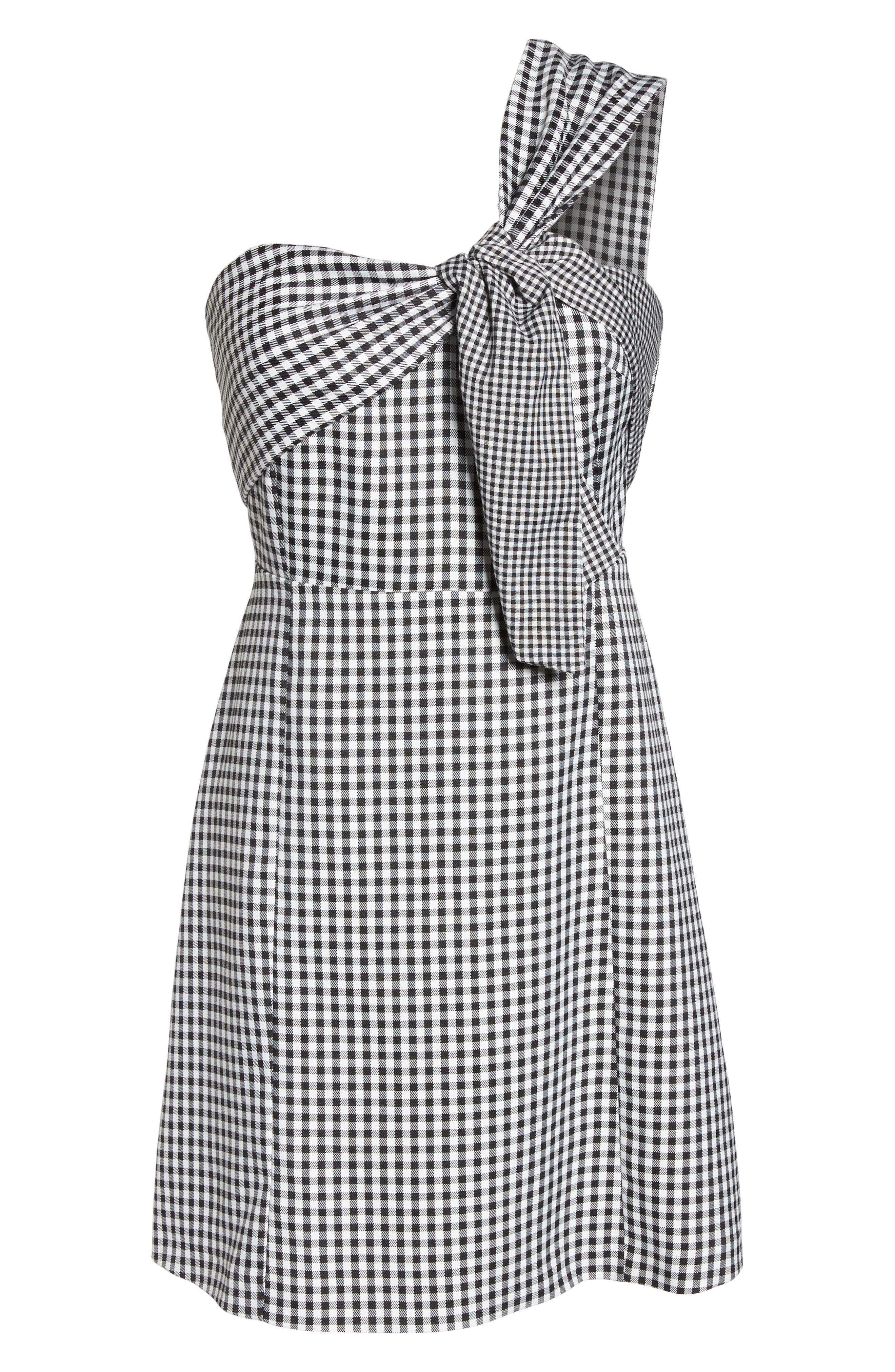 One-Shoulder Gingham Dress,                             Alternate thumbnail 6, color,                             Black/ White