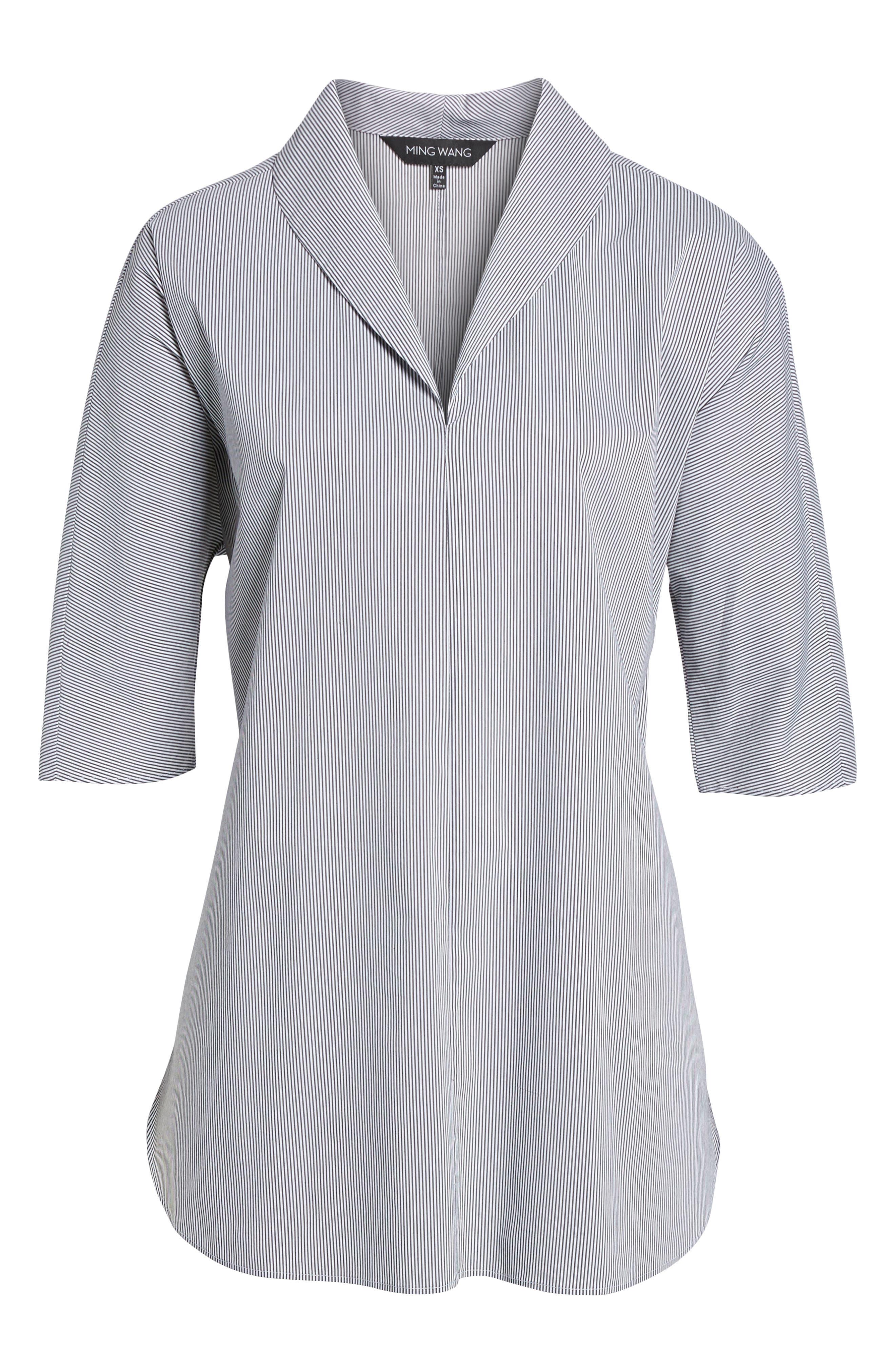 Stripe Tunic Shirt,                             Alternate thumbnail 6, color,                             Black/ White