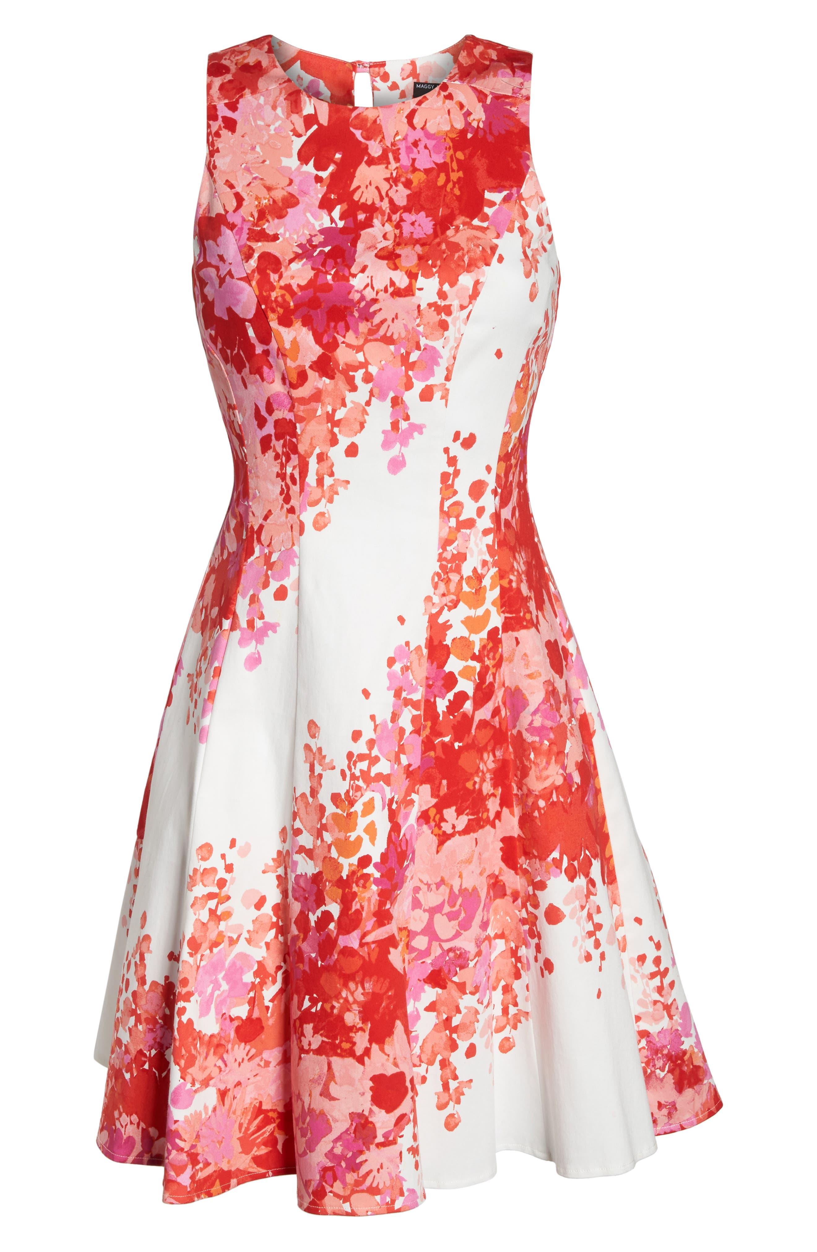 Fit & Flare Dress,                             Alternate thumbnail 6, color,                             Soft White/ Orange