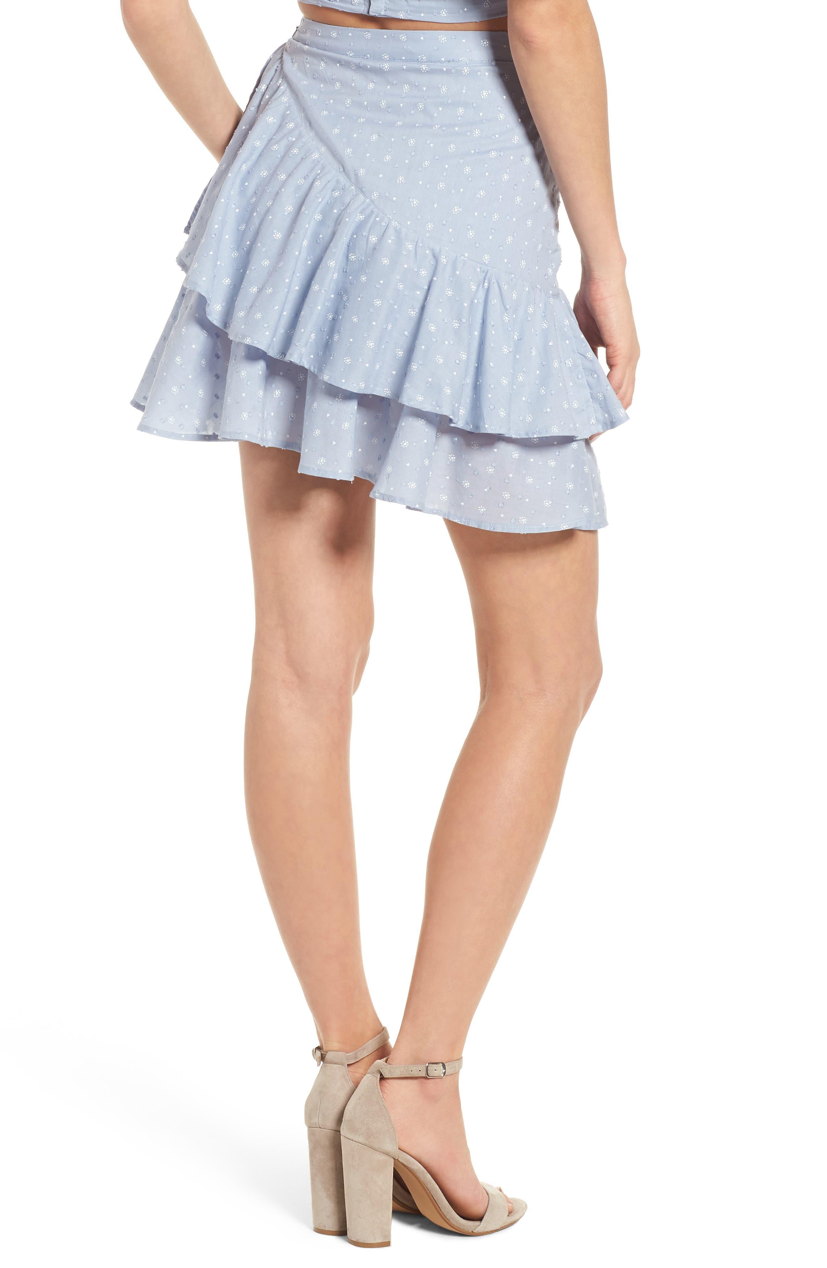 Mara Ruffled Miniskirt,                             Alternate thumbnail 3, color,                             Sail Blue