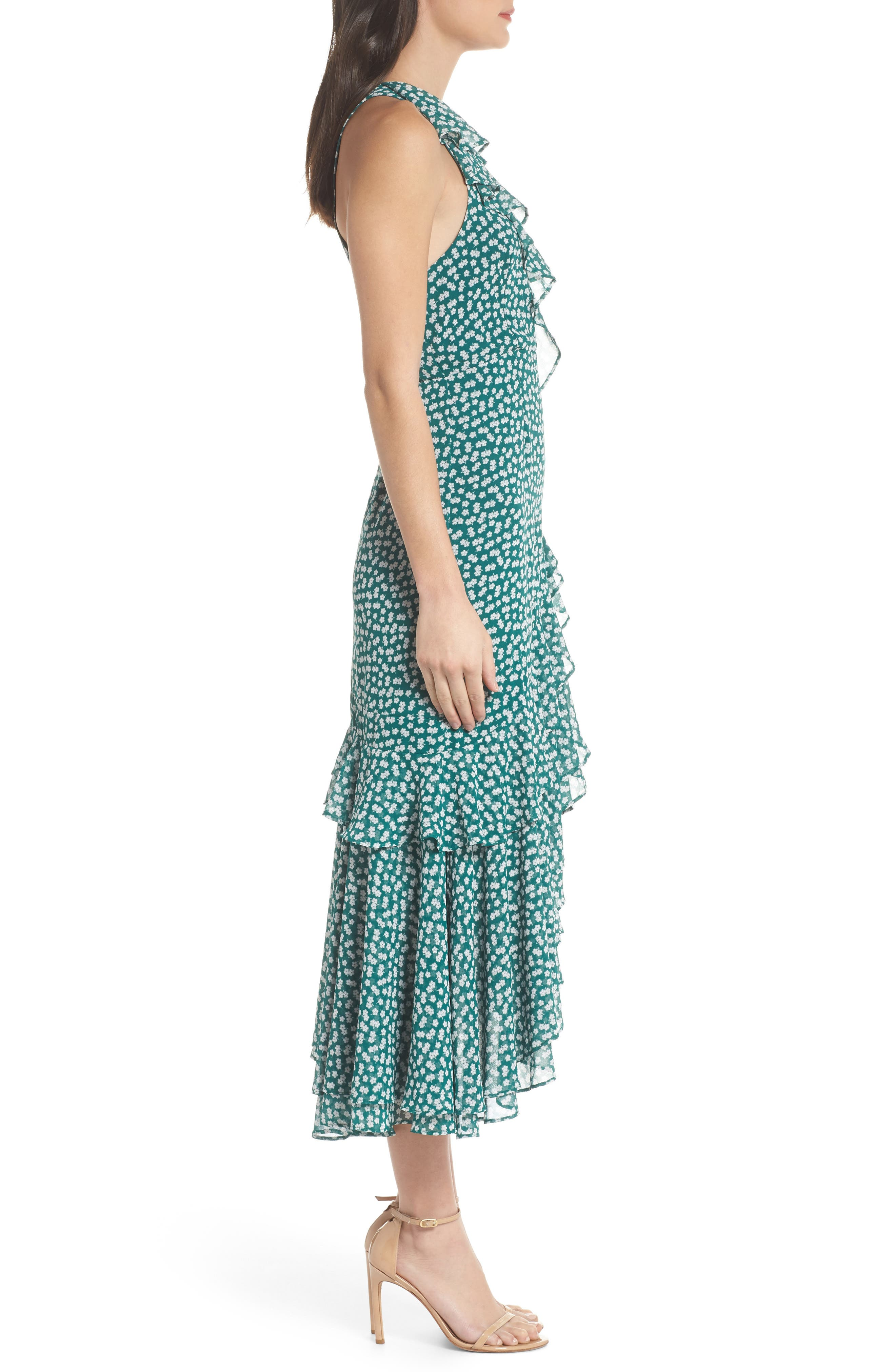 Be About You Ruffle Midi Dress,                             Alternate thumbnail 3, color,                             Green Daisy