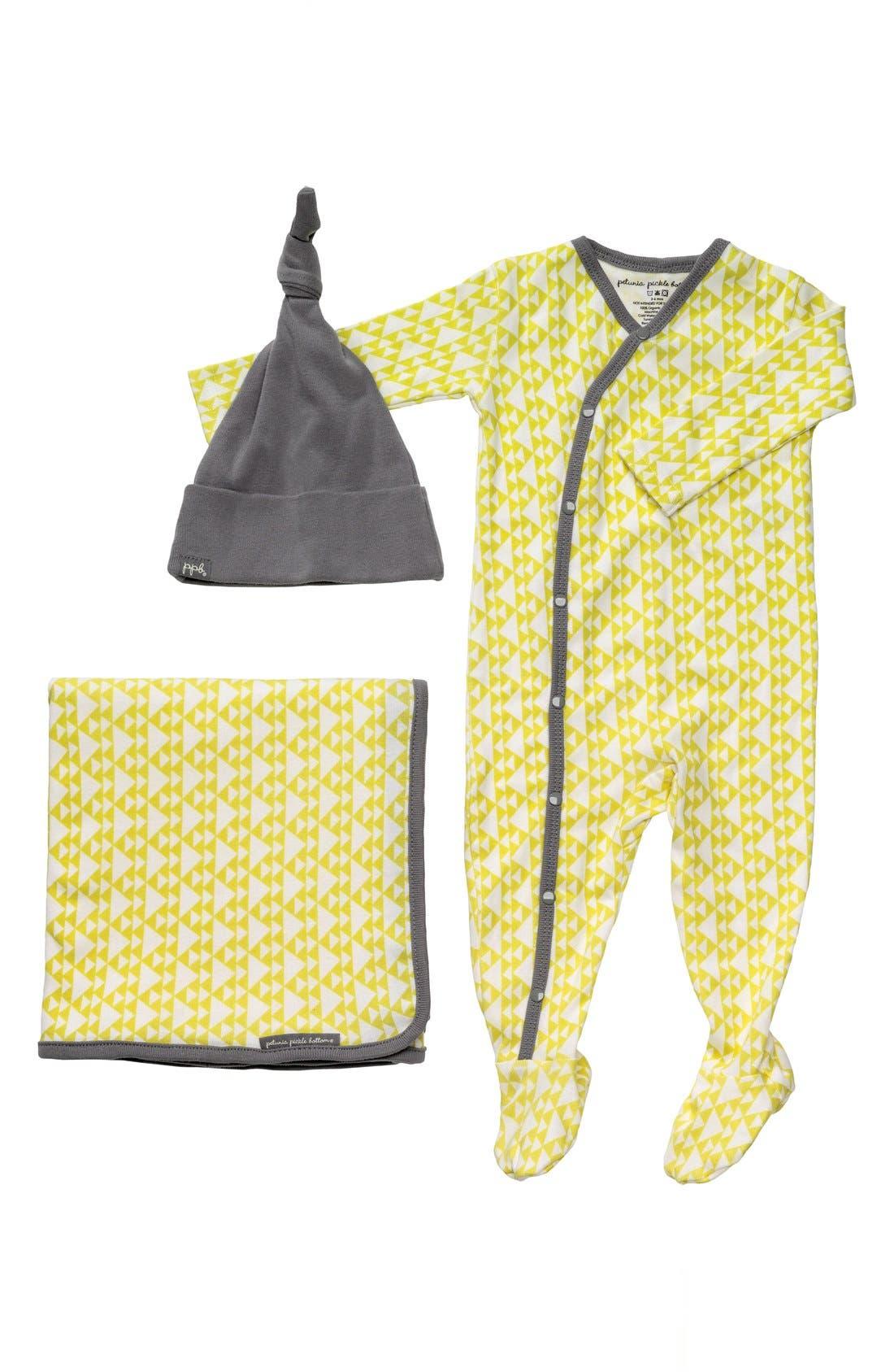 Main Image - Petunia Pickle Bottom 'Snuggle' Footie, Blanket & Hat Set (Infant)