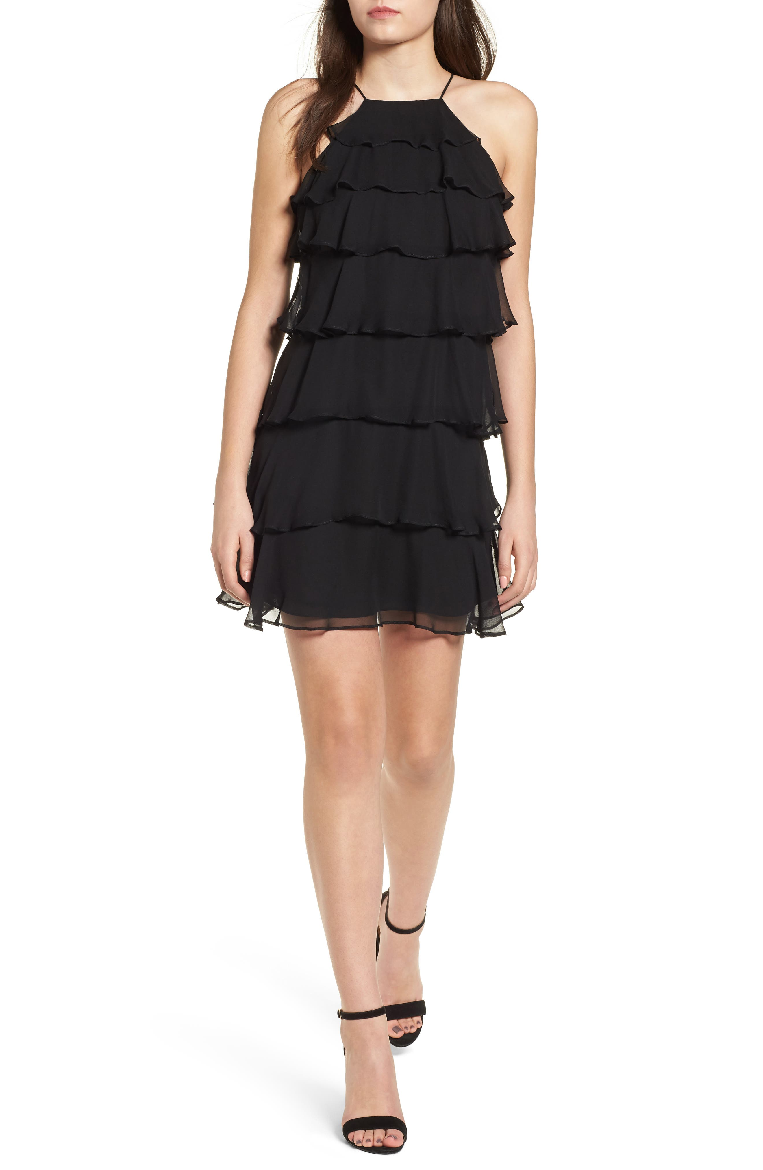 Delectable Tiered Silk Dress,                             Main thumbnail 1, color,                             Black