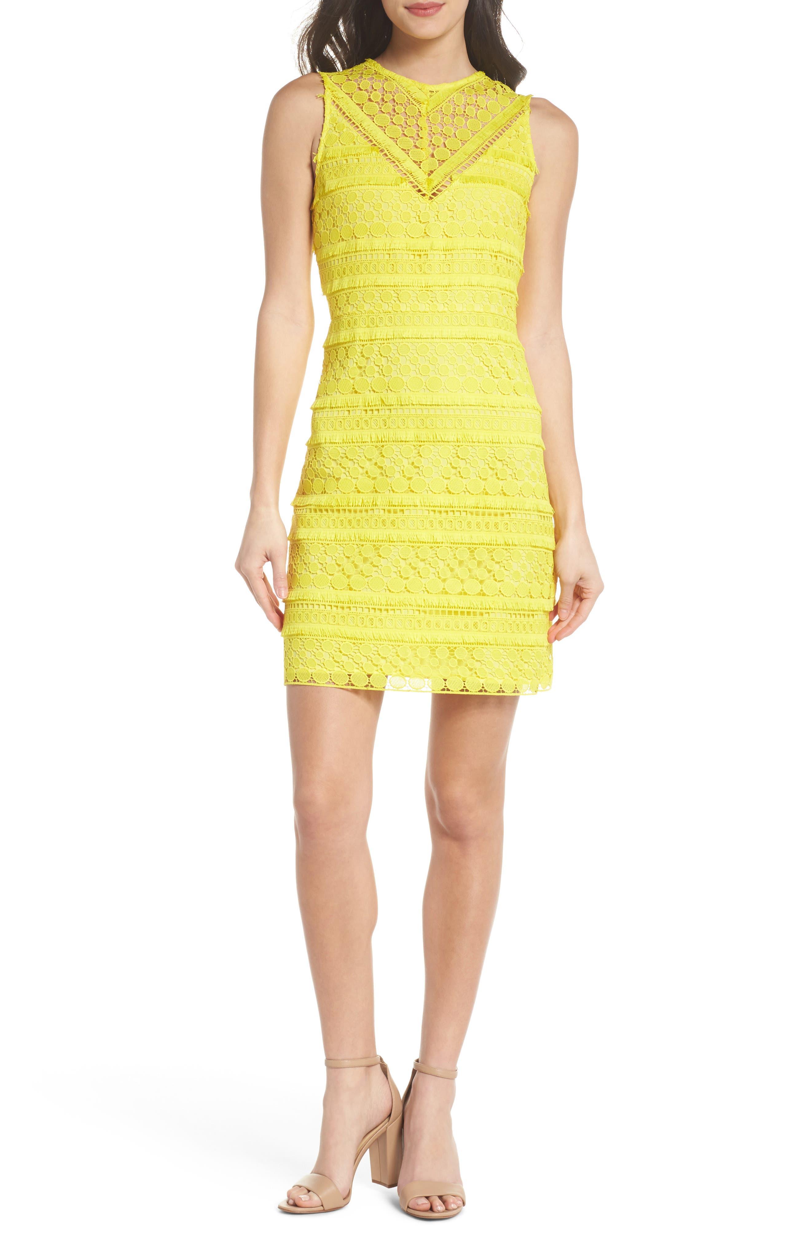 Lace Sheath Dress,                             Main thumbnail 1, color,                             Yellow