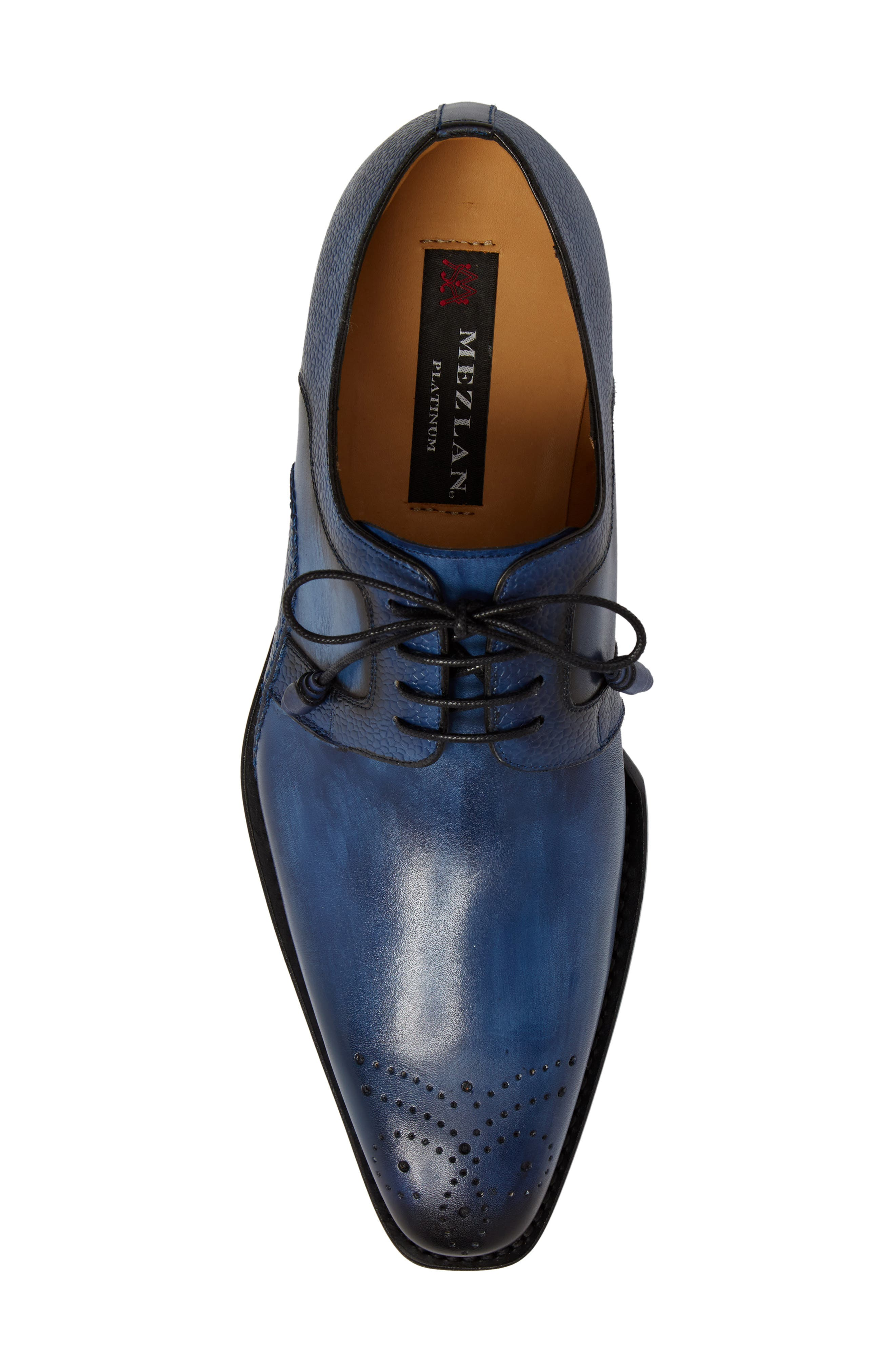 Saturno Medallion Toe Derby,                             Alternate thumbnail 5, color,                             Mid Blue Leather