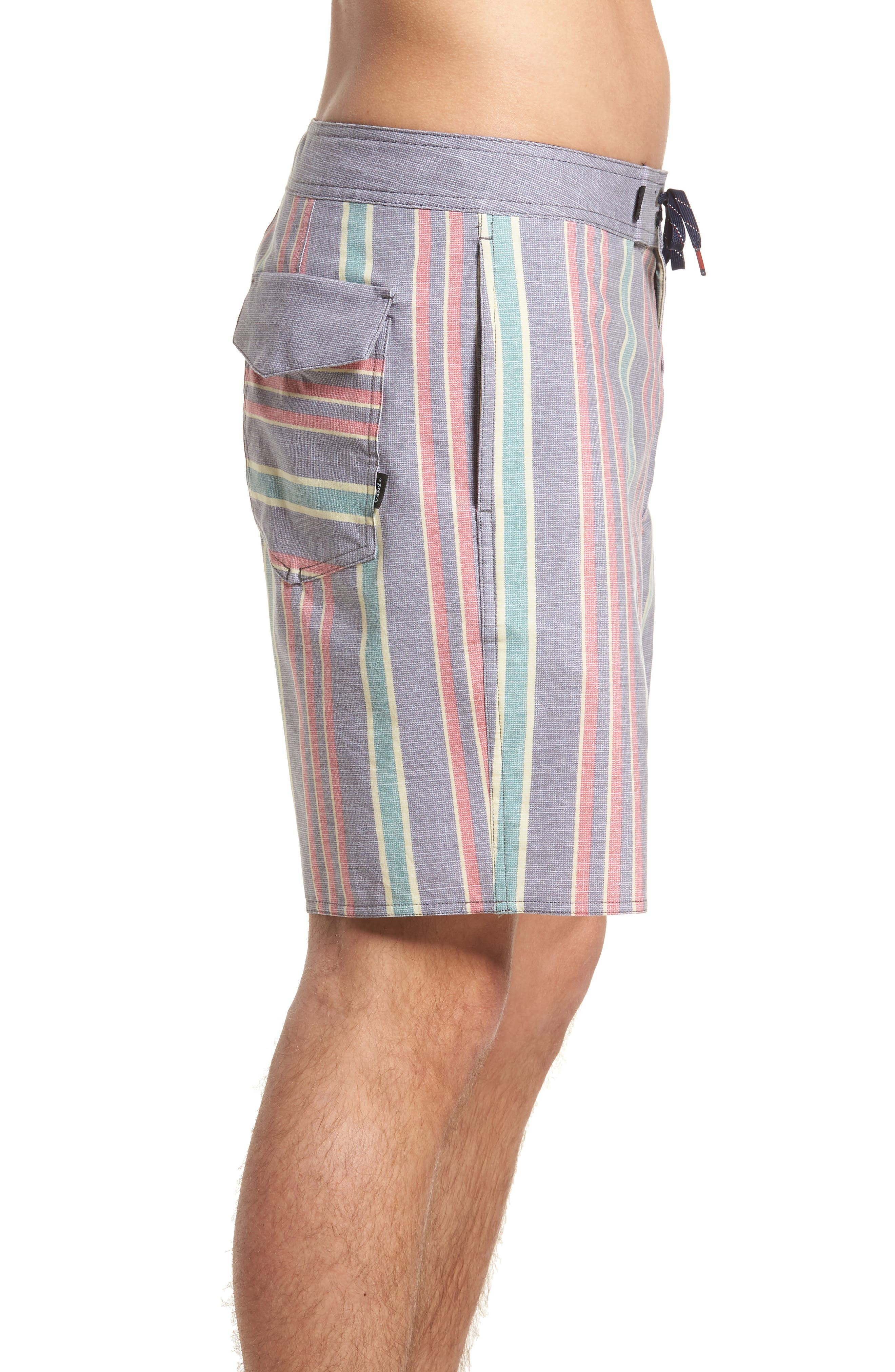 Vertical Stripe Board Shorts,                             Alternate thumbnail 3, color,                             Dress Blues