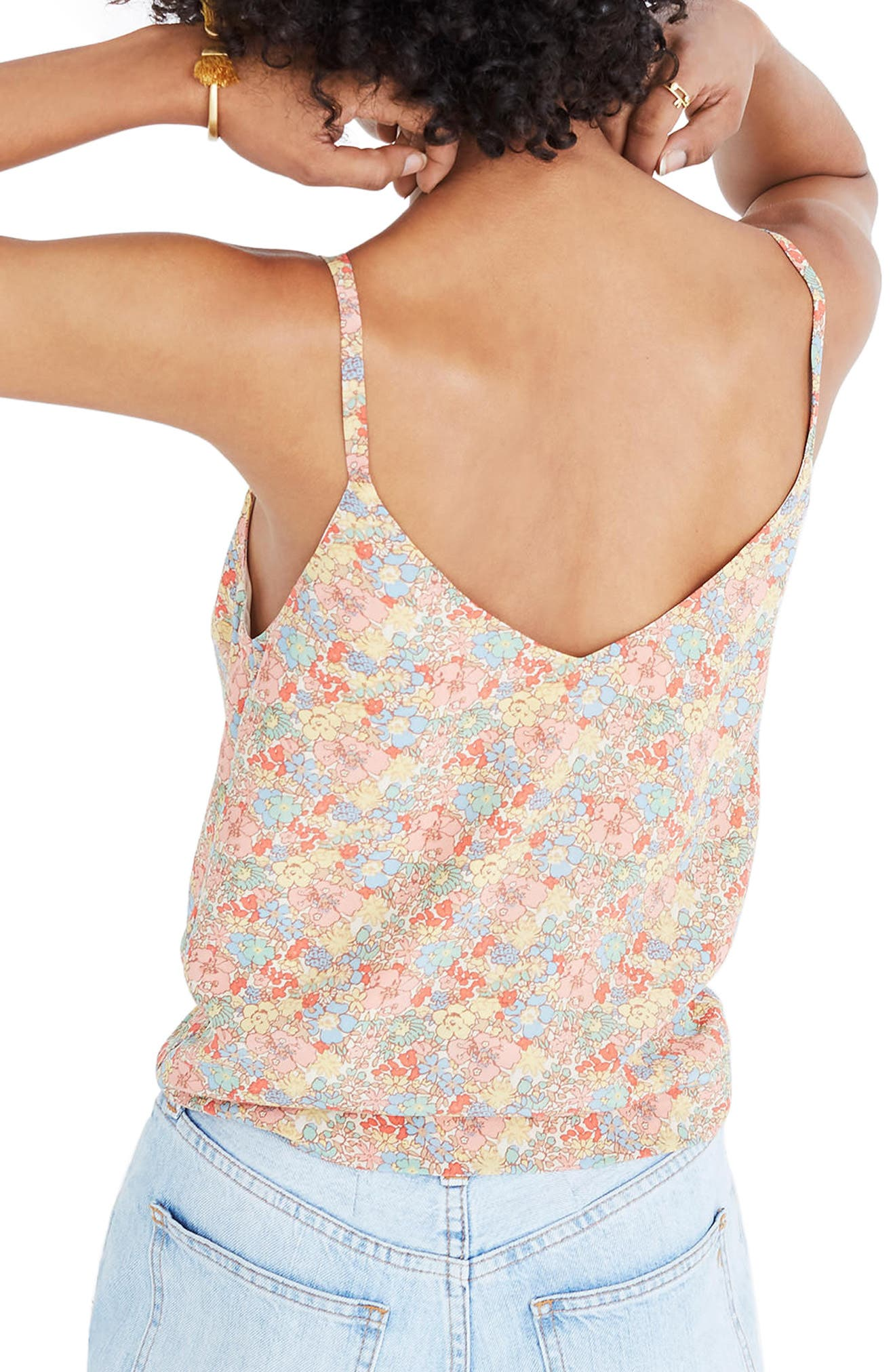 Floral Button Down Silk Camisole,                             Alternate thumbnail 2, color,                             Woodland Light Nectar