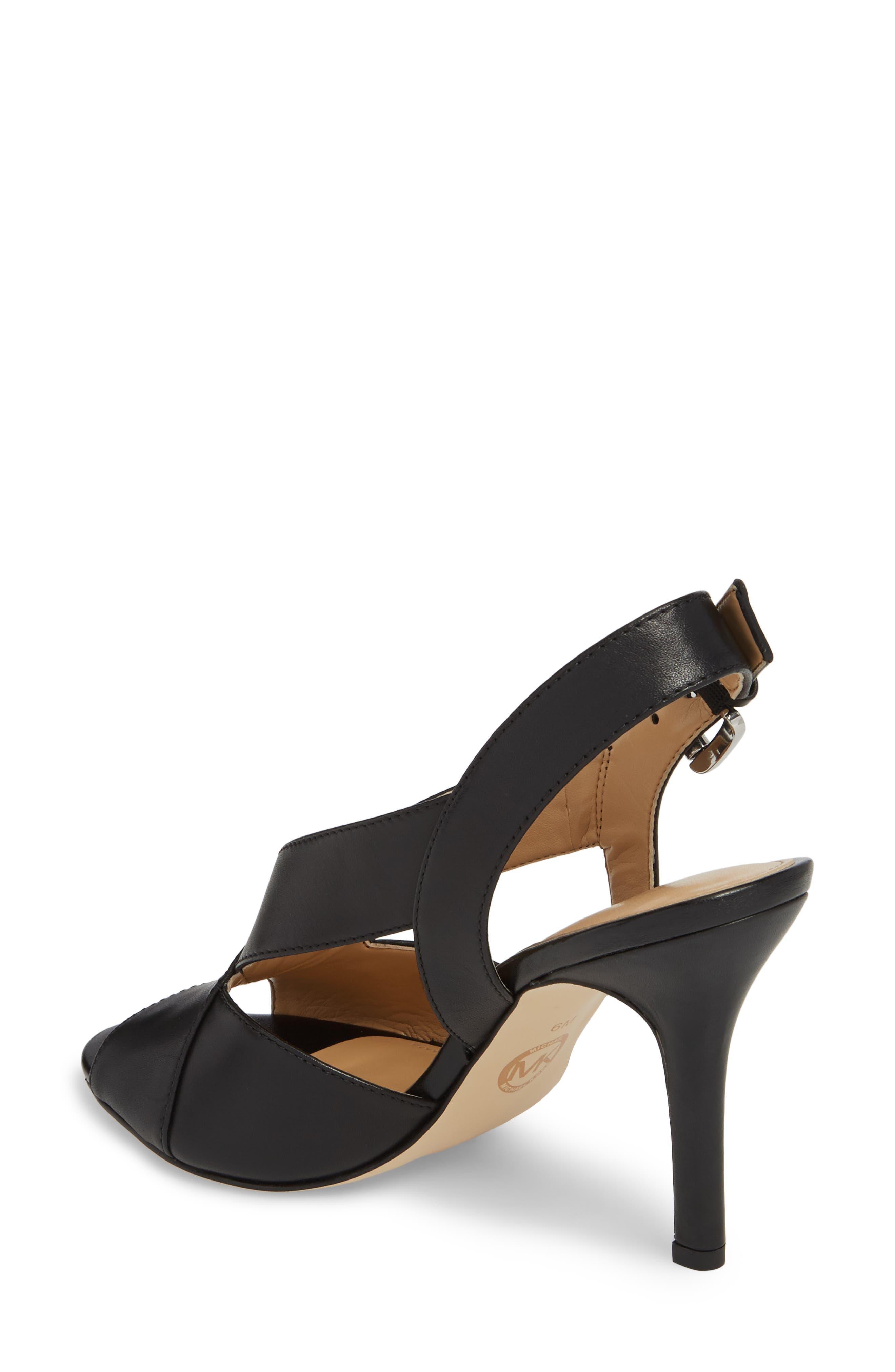 Becky Slingback Sandal,                             Alternate thumbnail 2, color,                             Black Leather