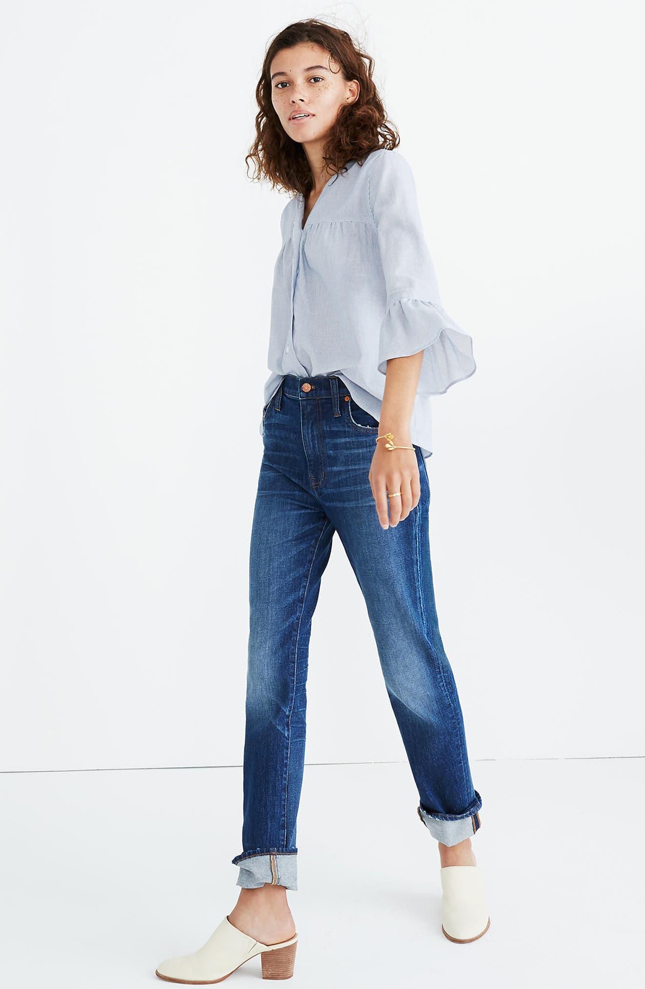 Veranda Bell Sleeve Shirt,                             Alternate thumbnail 3, color,                             Royal Blue