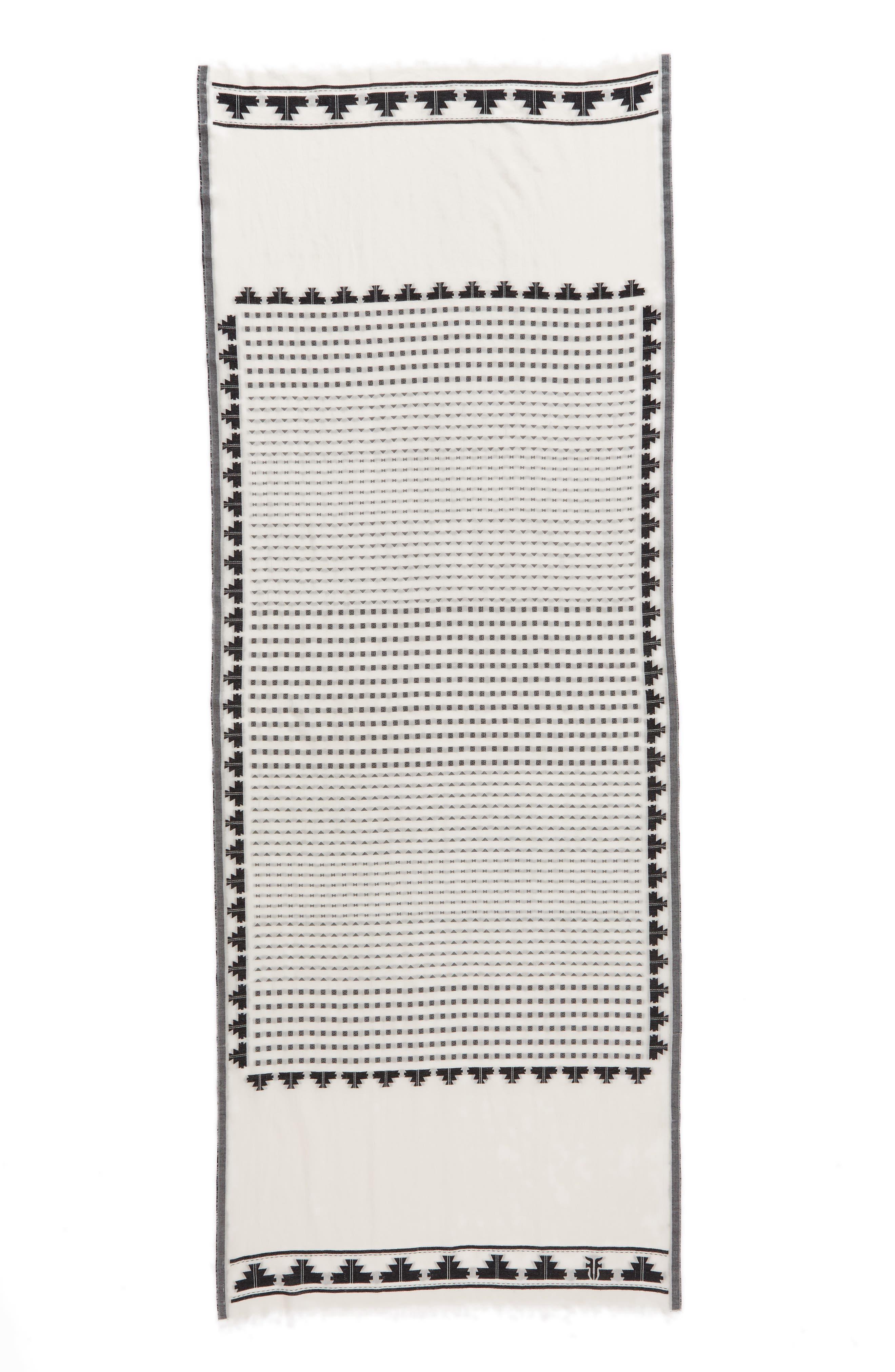 Clip Dot Jacquard Cotton Scarf,                             Alternate thumbnail 3, color,                             White