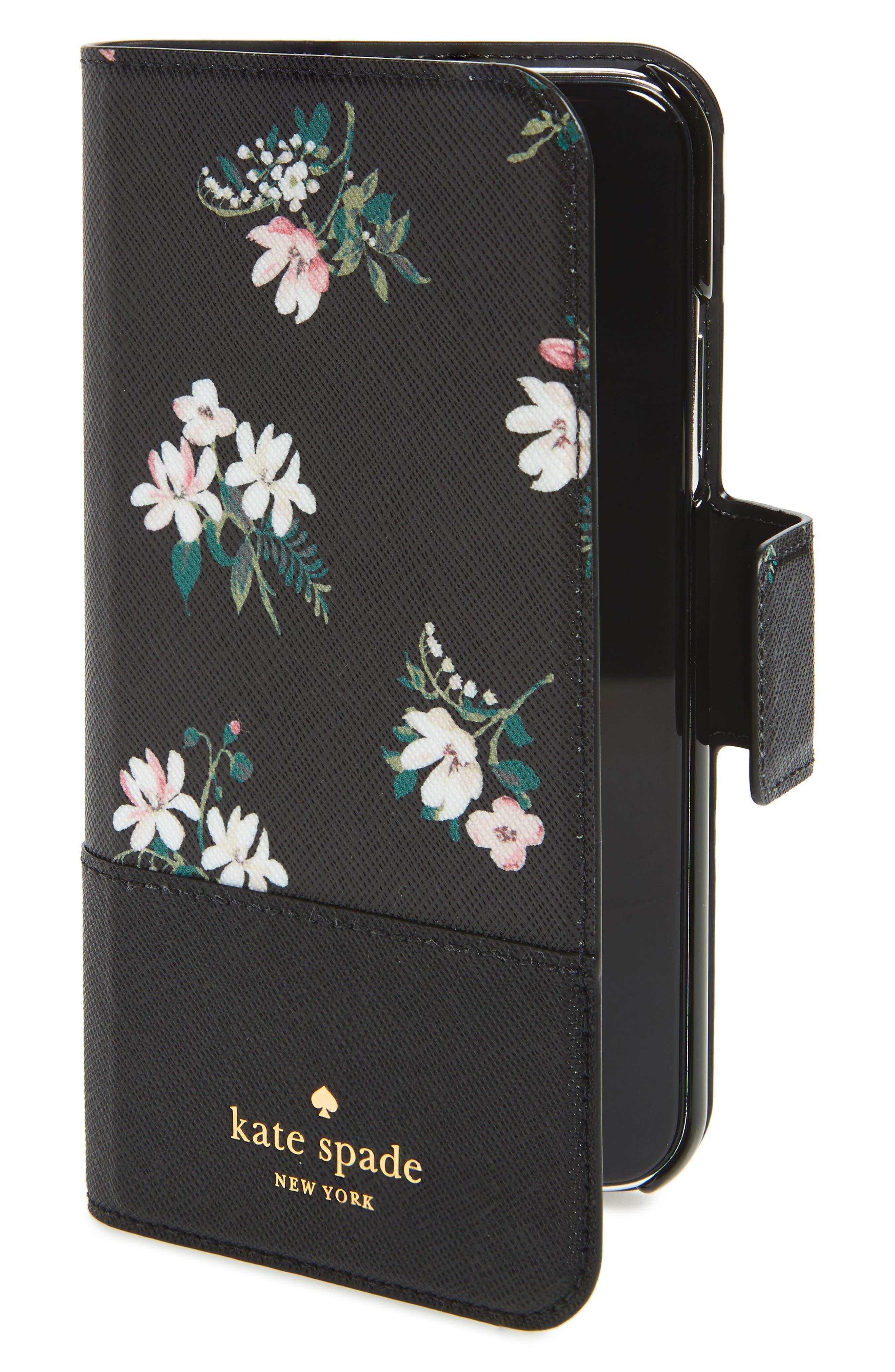 floral wrap faux leather iPhone X folio case,                         Main,                         color, Black Multi