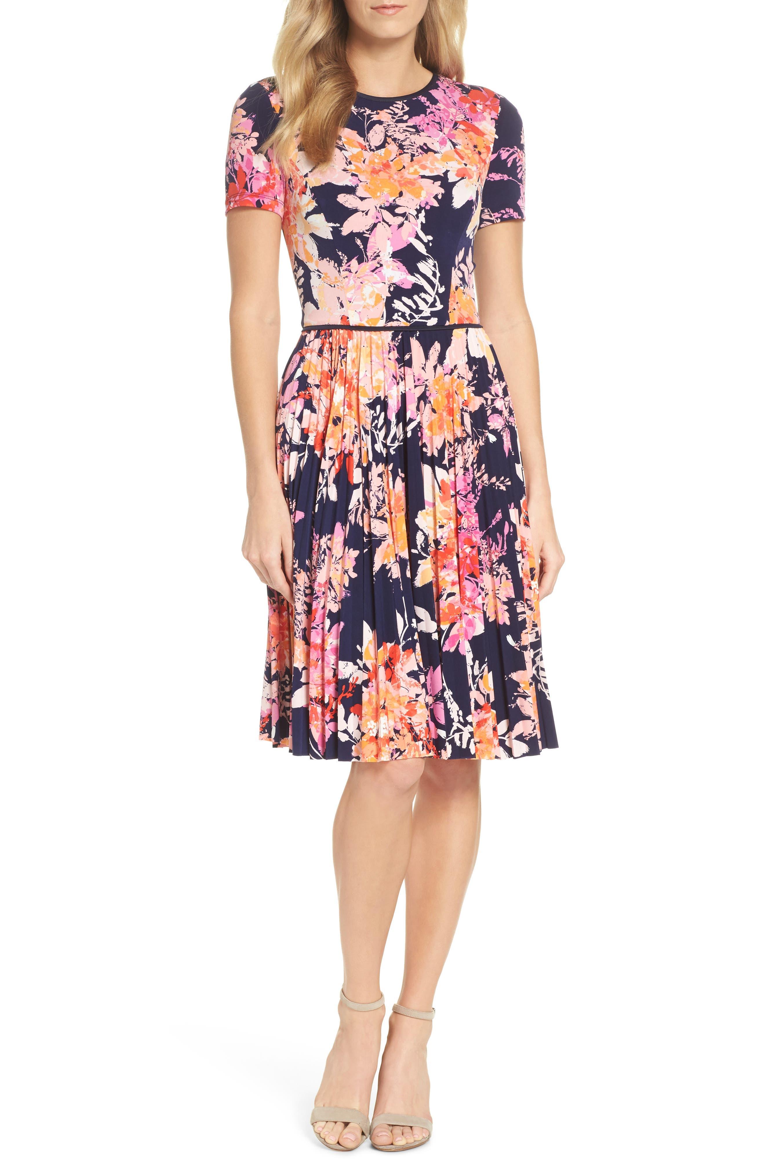 Pleat Fit & Flare Dress,                             Main thumbnail 1, color,                             Navy/ Orange
