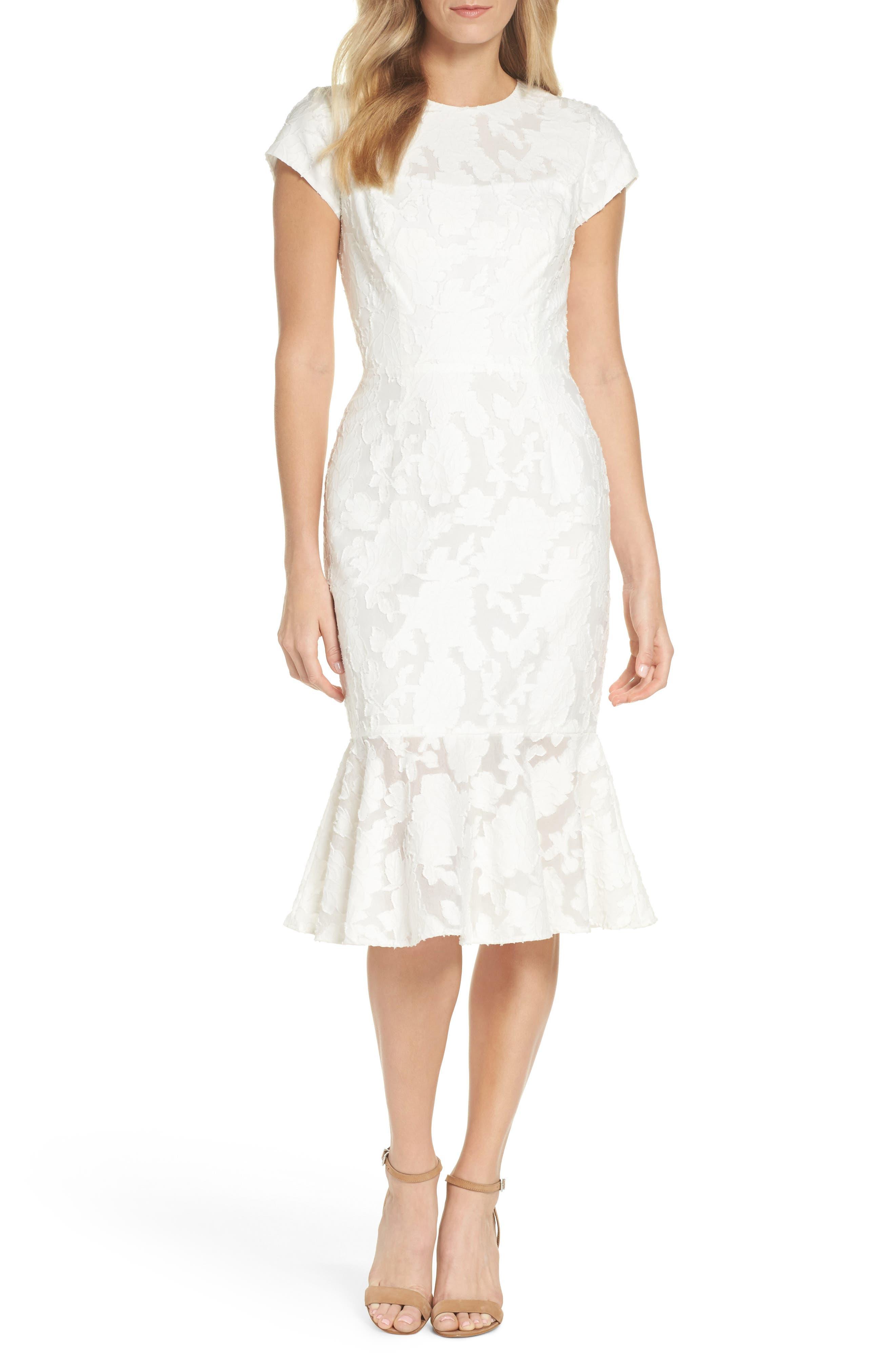 Lace Flare Hem Midi Dress,                             Main thumbnail 1, color,                             White