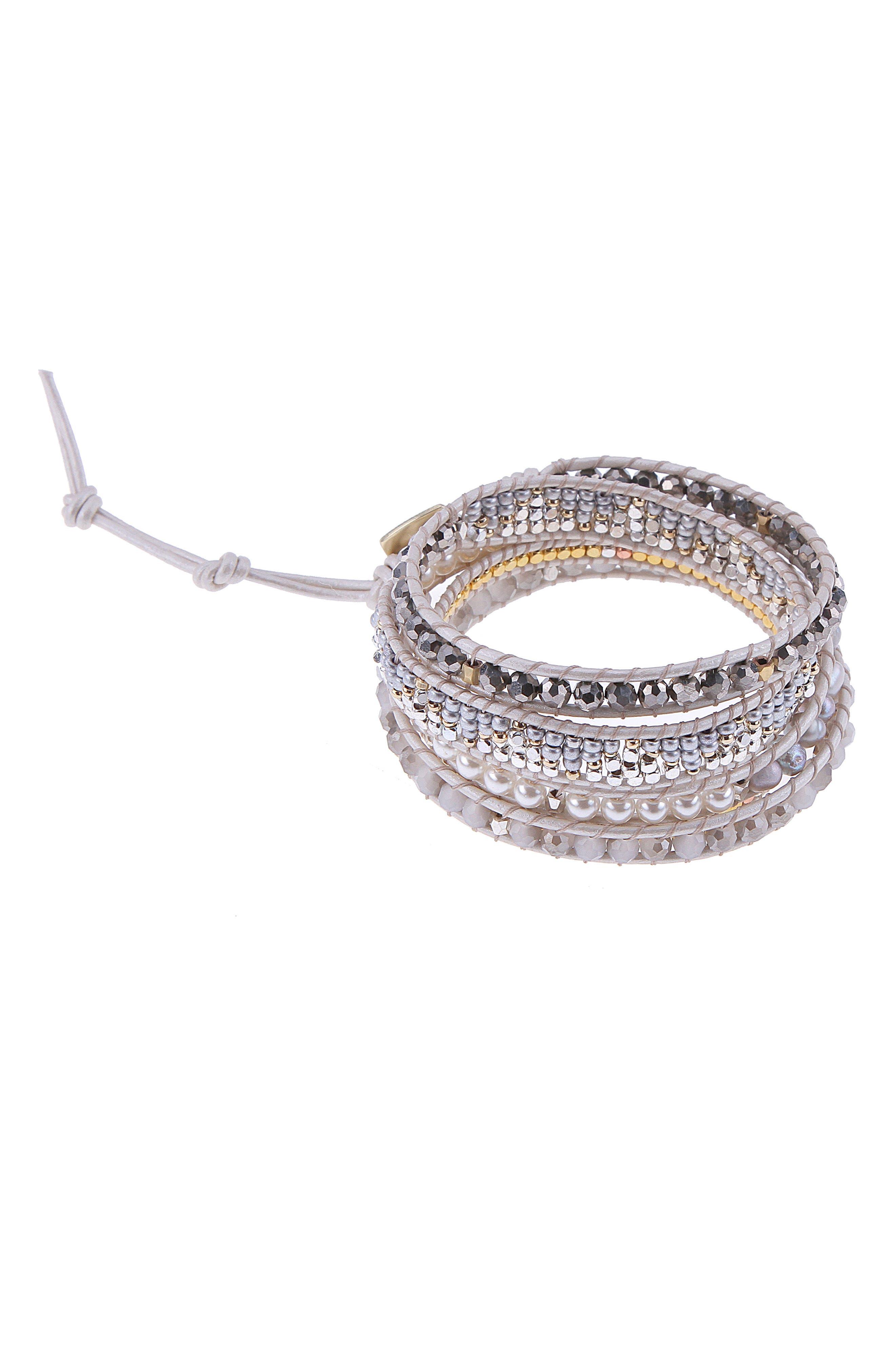 Crystal & Imitation Pearl Beaded Wrap Bracelet,                         Main,                         color, White