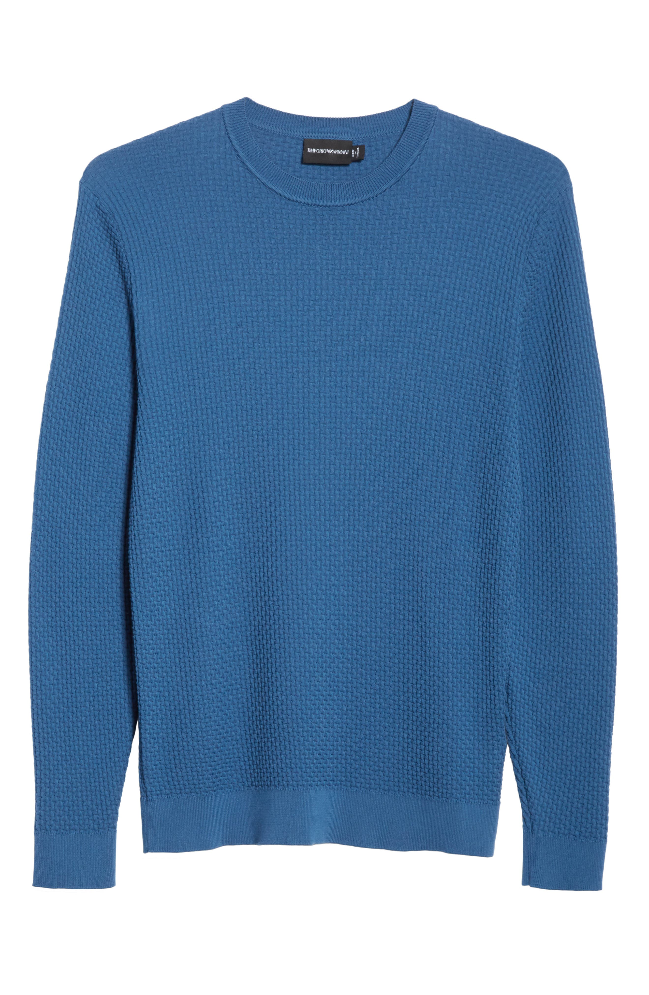 Slim Fit Textured Crew Sweater,                             Alternate thumbnail 6, color,                             Avio Scuro