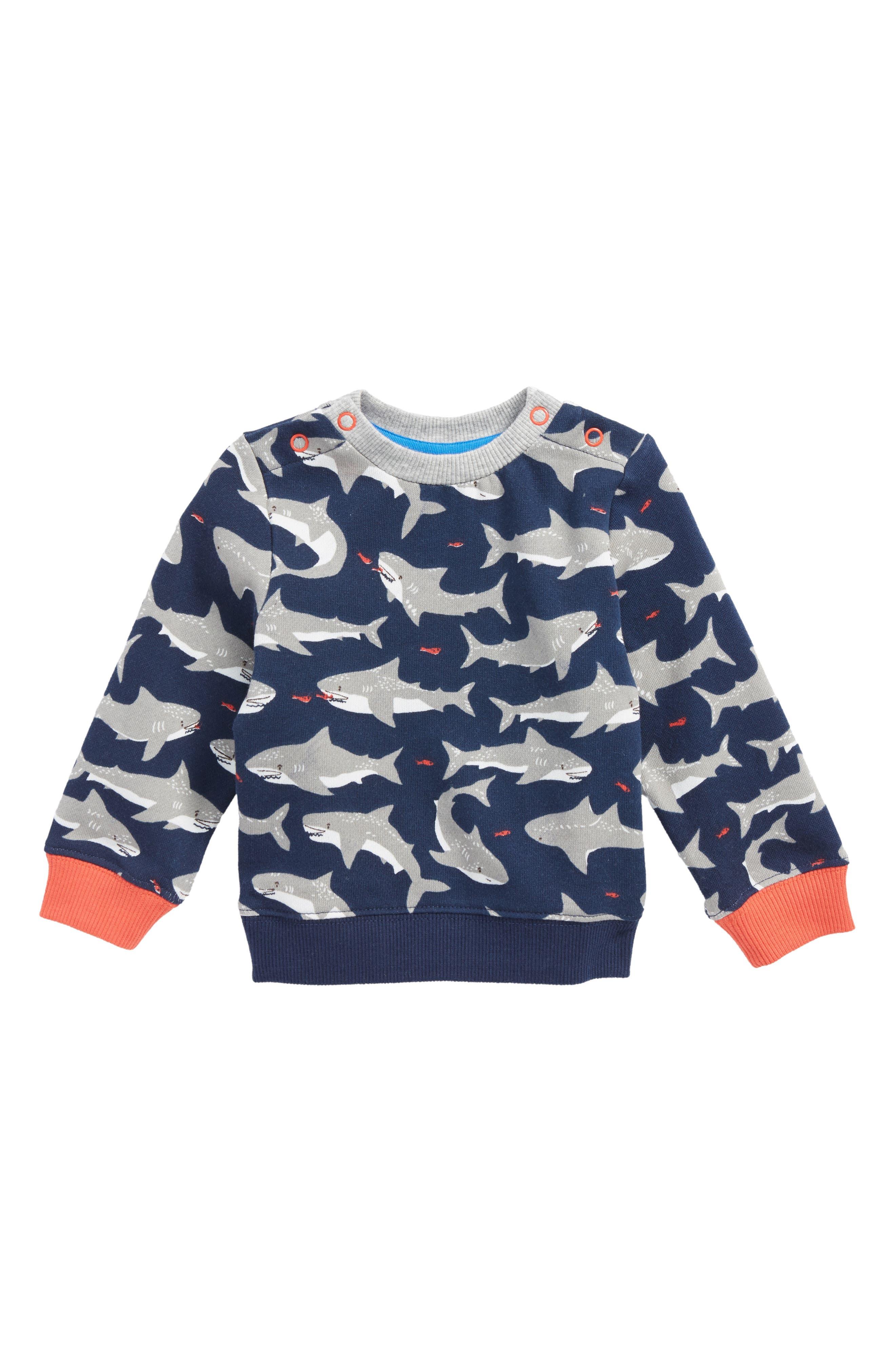 Mini Boden Cozy Shark Sweatshirt (Baby Boys & Toddler Boys)