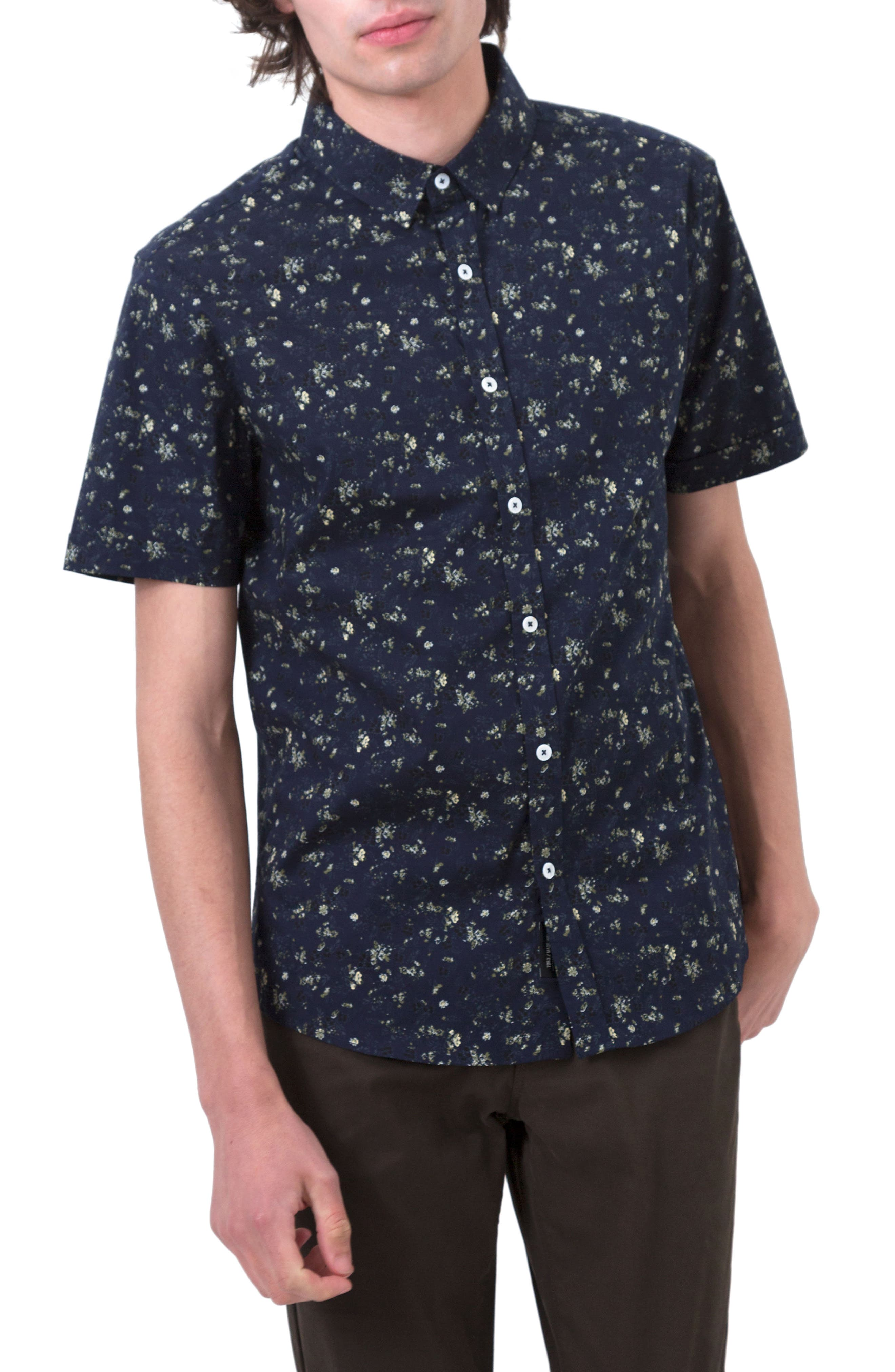 Jungle Youth Trim Fit Short Sleeve Sport Shirt,                             Main thumbnail 1, color,                             Navy