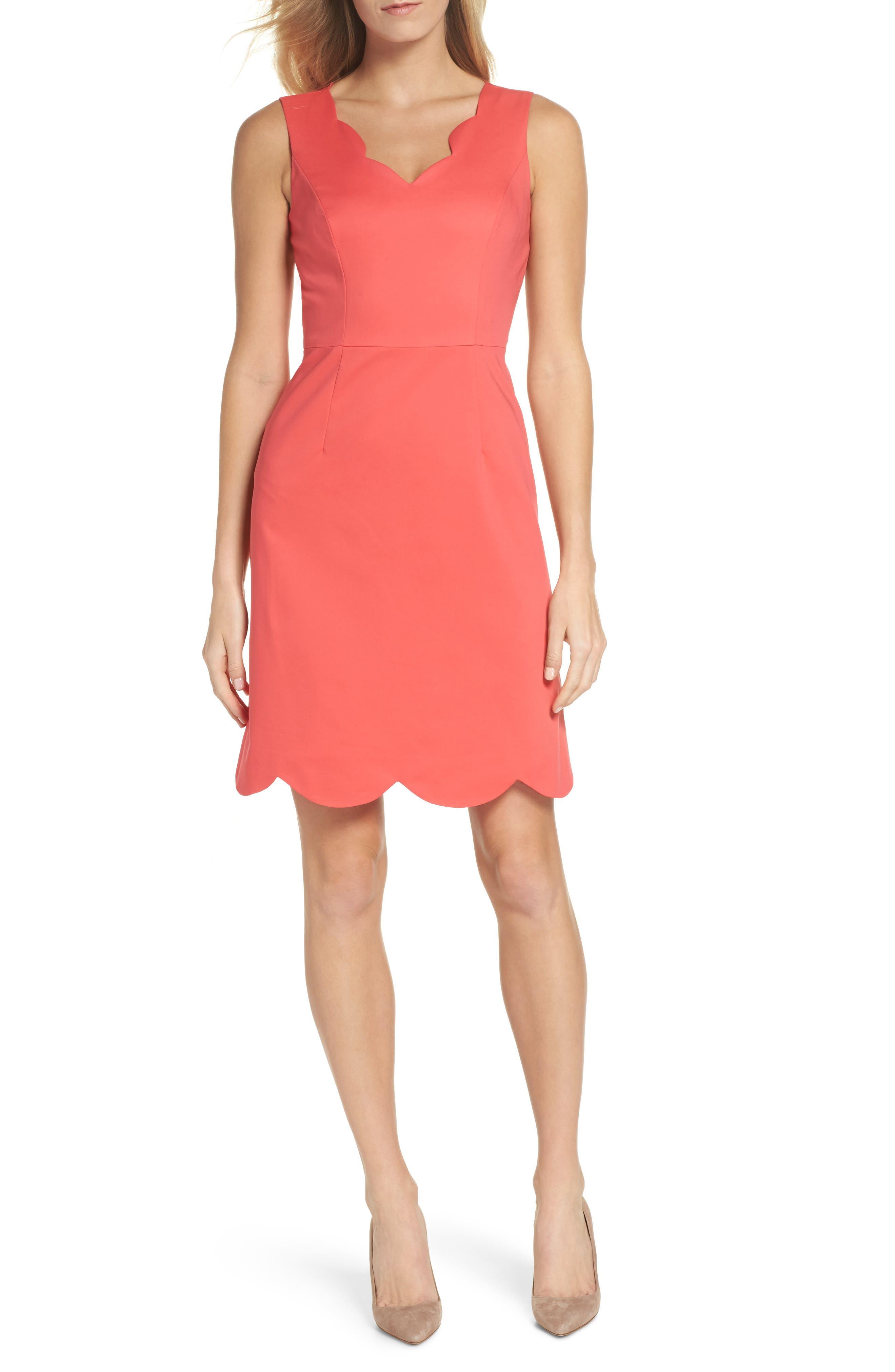 Elsa Scalloped Sheath Dress,                         Main,                         color, Strawberry Pink