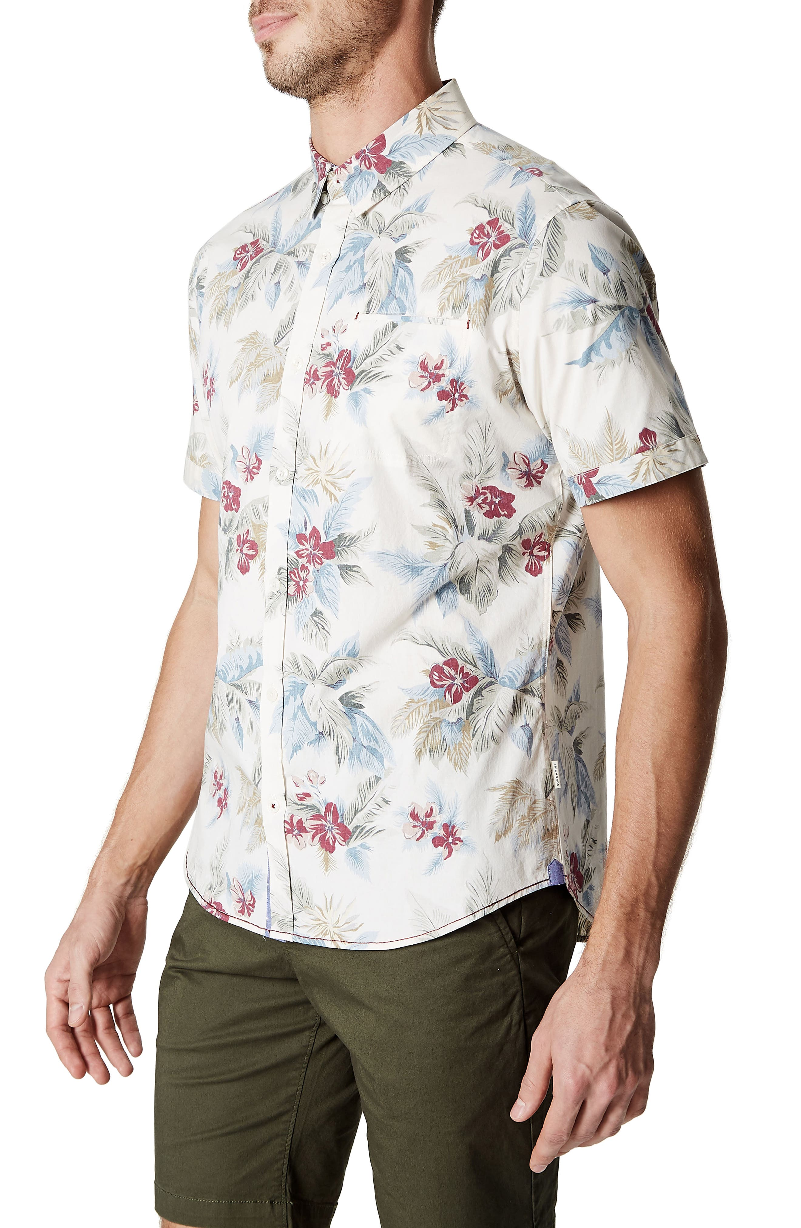 Island in the Sun Trim Fit Short Sleeve Sport Shirt,                             Alternate thumbnail 3, color,                             Natural
