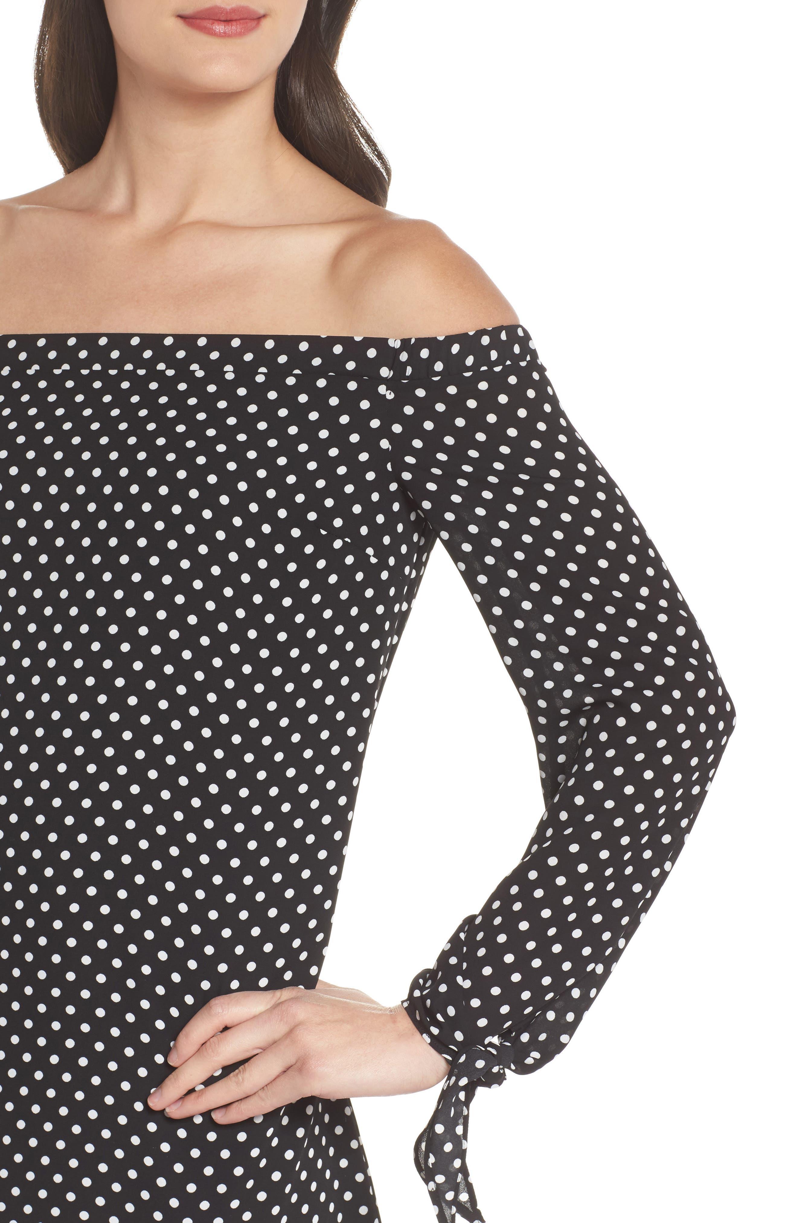 Polka Dot Off the Shoulder Minidress,                             Alternate thumbnail 4, color,                             Black/ White