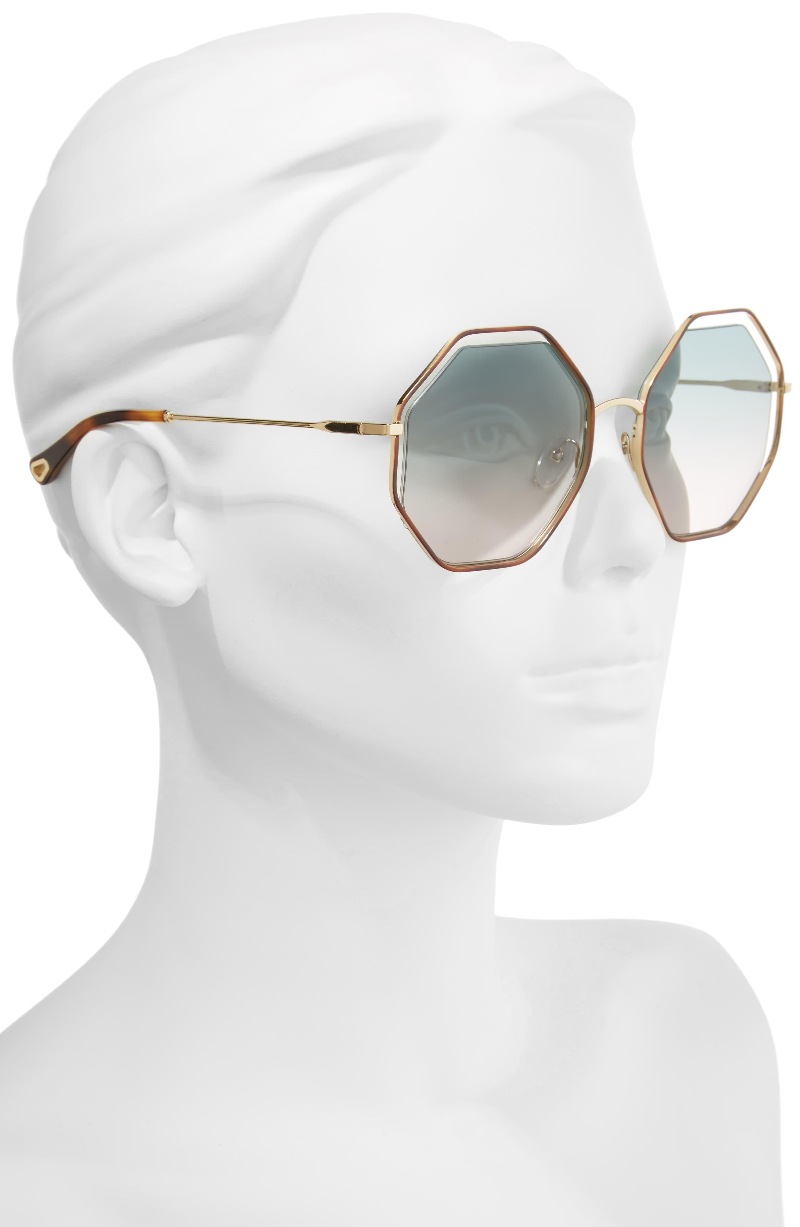 58mm Octagonal Halo Lens Sunglasses,                             Alternate thumbnail 2, color,                             Havana/ Green Rose