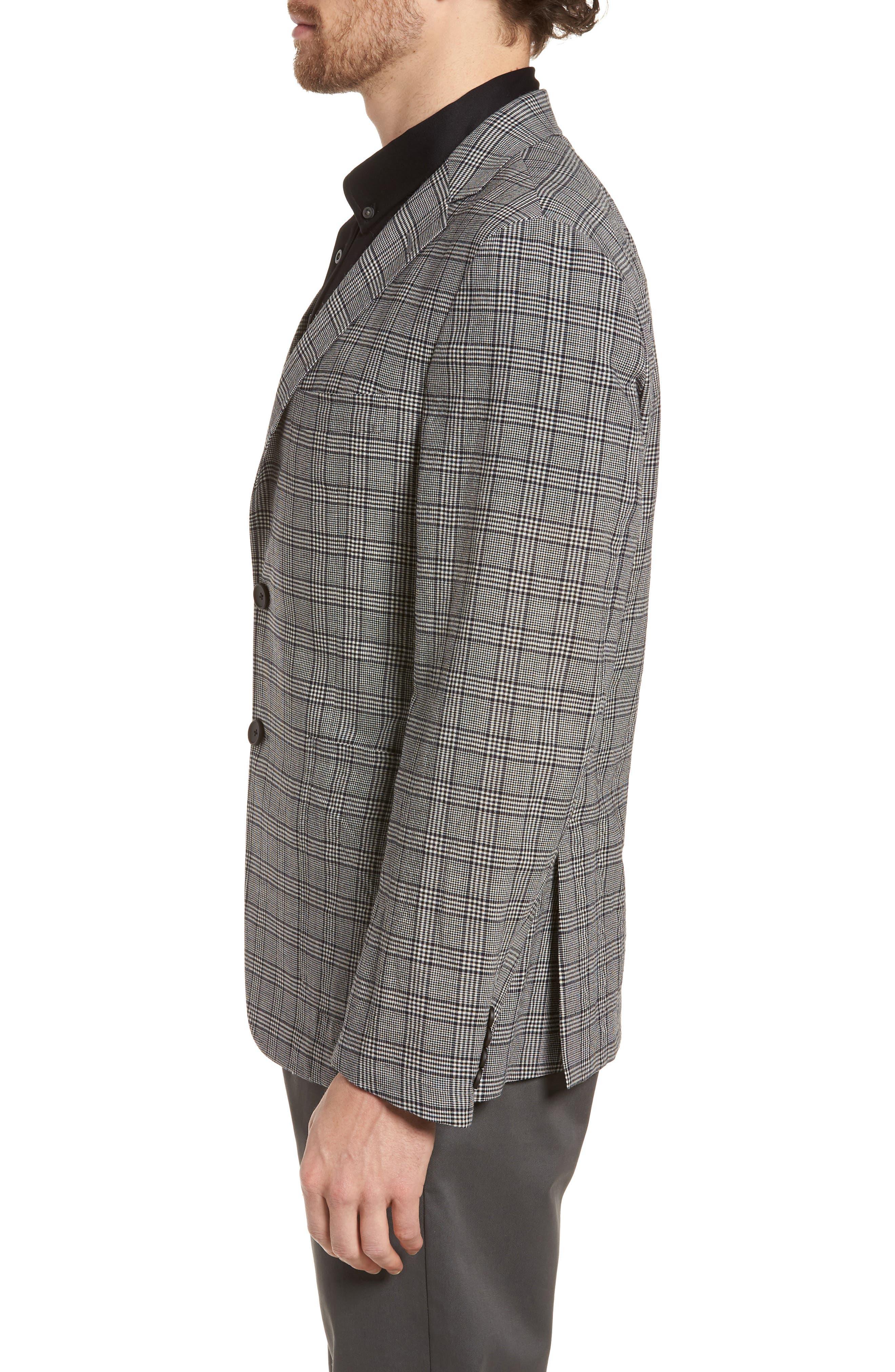 Modern Fit Plaid Wool Sport Coat,                             Alternate thumbnail 3, color,                             Black
